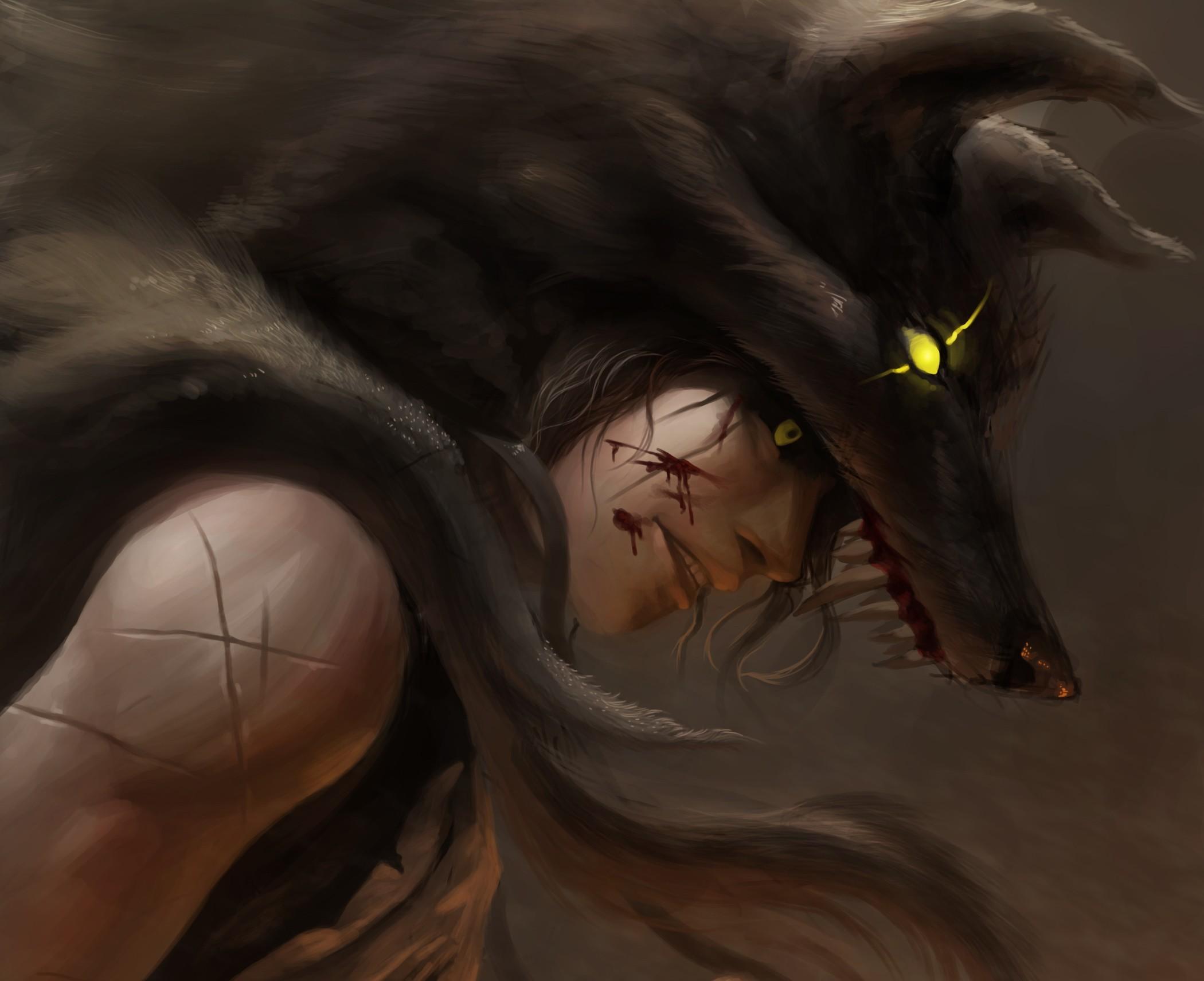 Картинка волк Парни Фантастика Волки юноша парень подросток Фэнтези