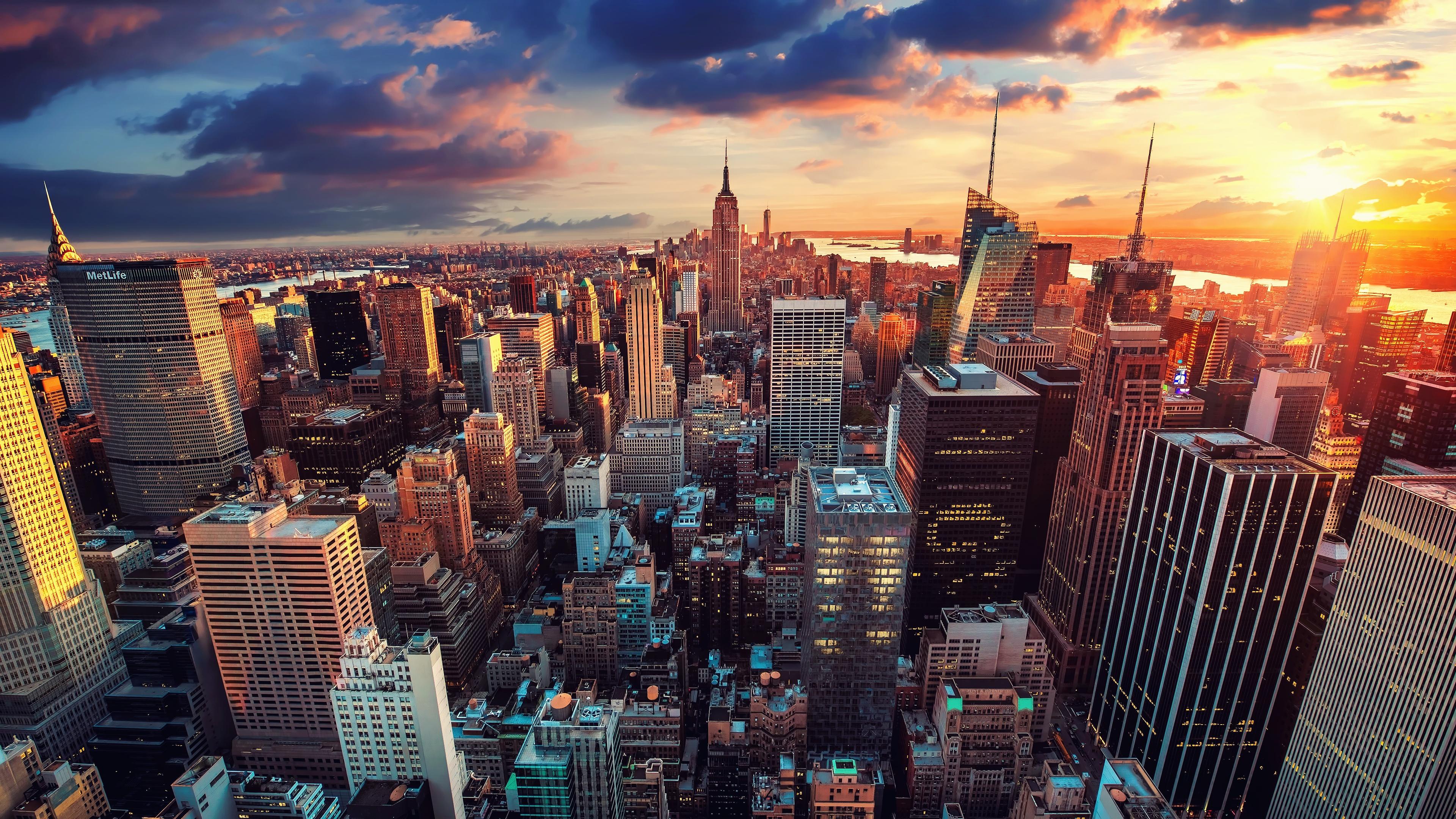 Фотографии Нью-Йорк Манхэттен США Вечер Небоскребы город Здания штаты Дома Города