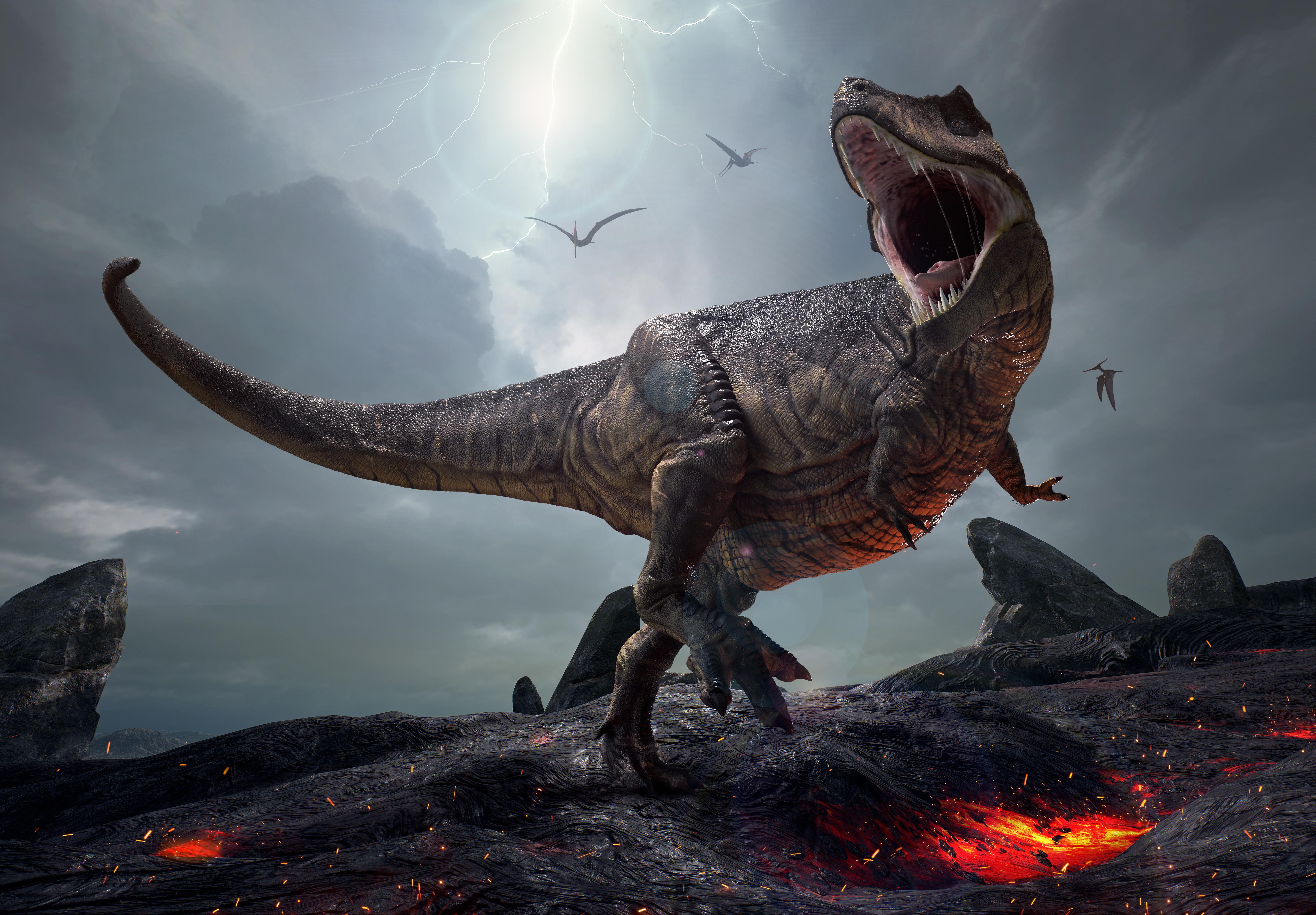 Фотография Тираннозавр рекс Динозавры 3д злость 5971x4153 динозавр 3D Графика злой Оскал рычит