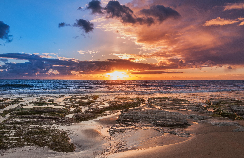 Картинка Сицилия Италия Природа Небо Рассветы и закаты Побережье Облака берег