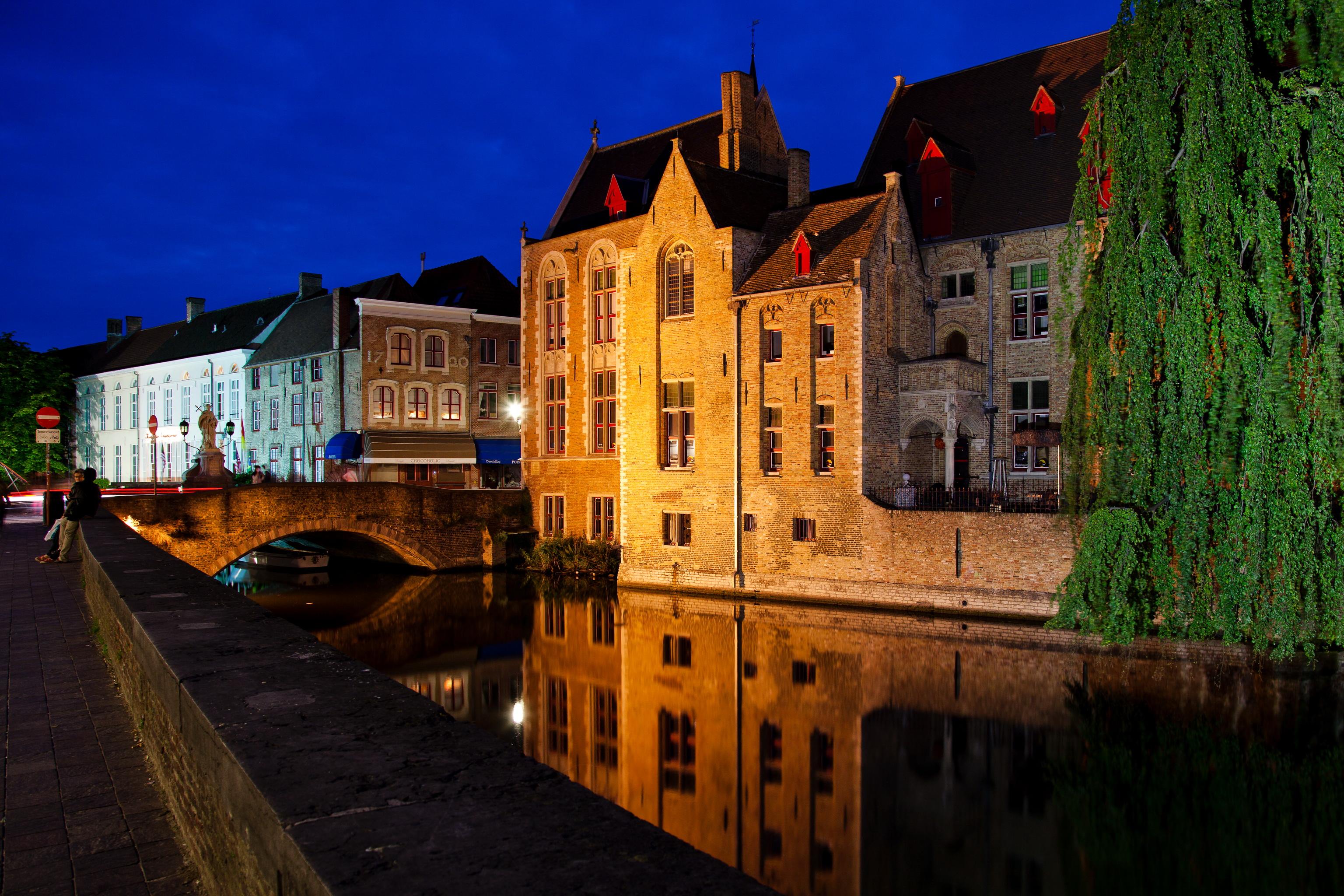 Обои канал, бельгия, брюгге, дома, ночь. Города foto 9