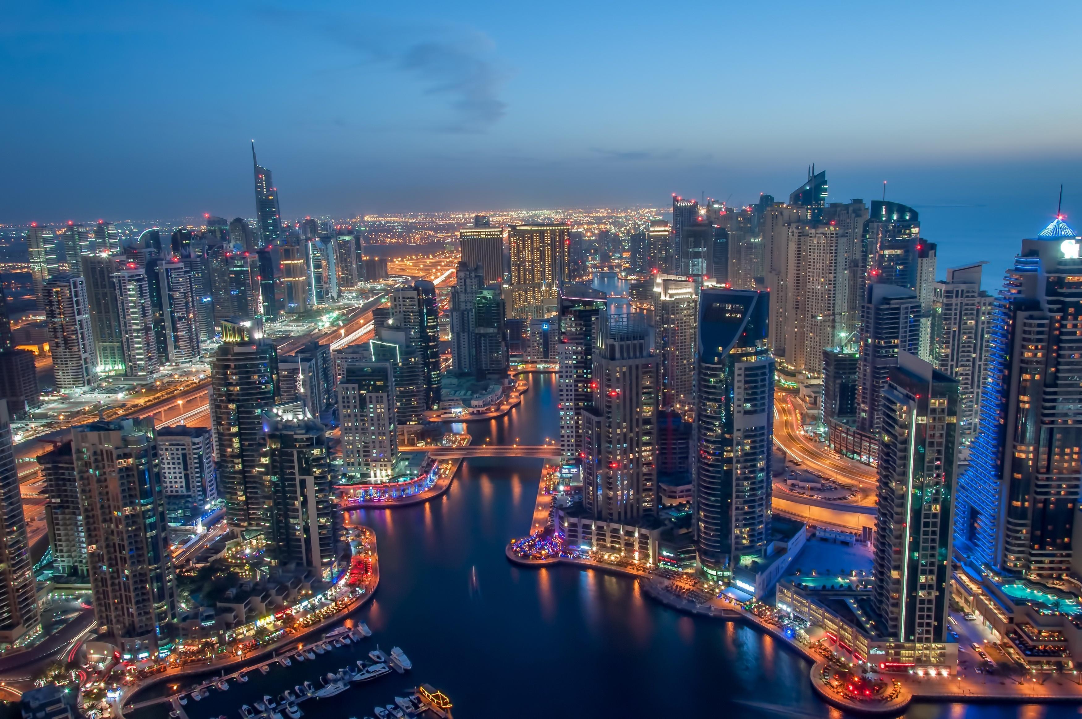 дубаи марина огни город высота Dubai Marina lights the city height загрузить