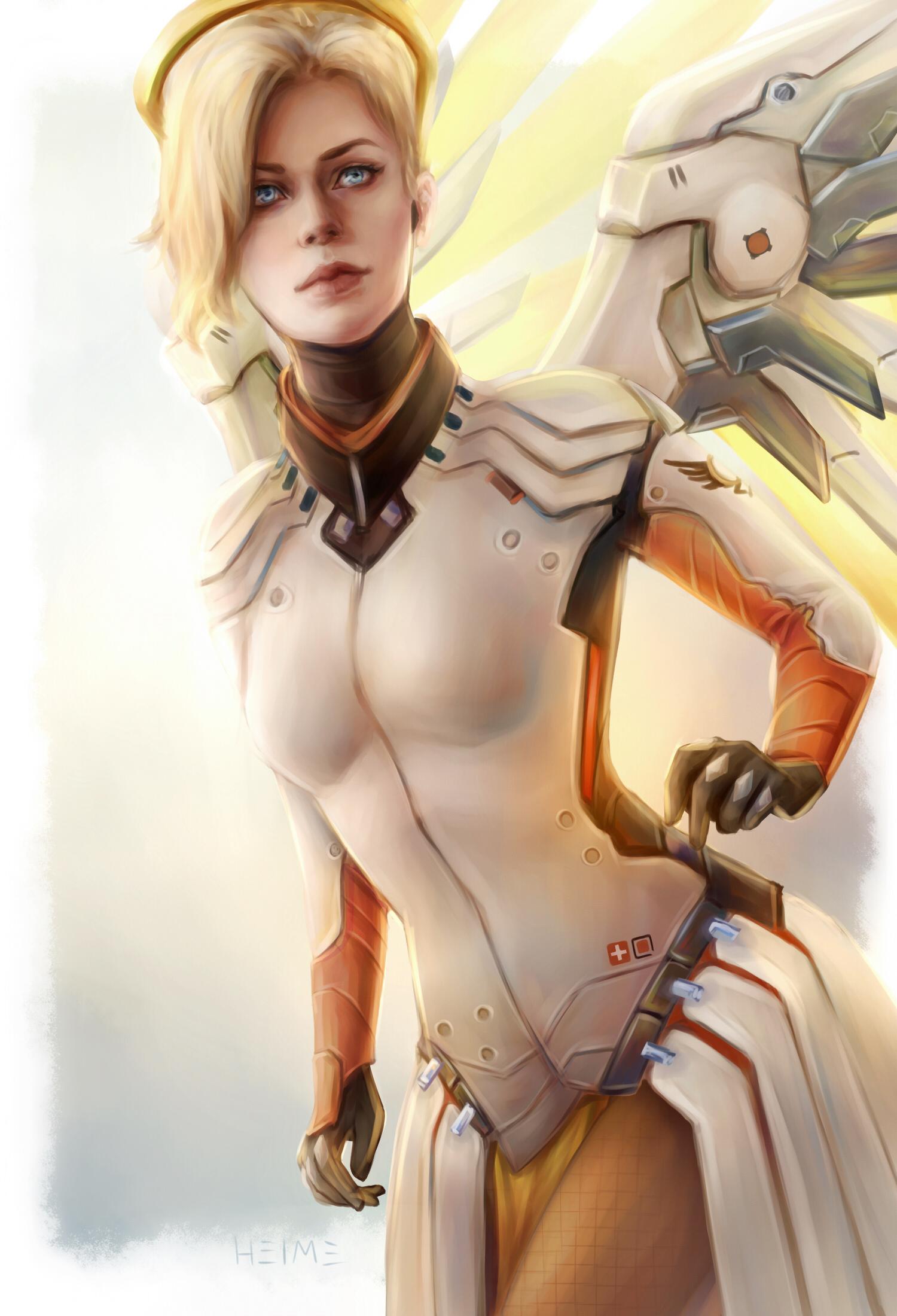 Картинки Overwatch Mercy Девушки Фэнтези Игры Ангелы Овервотч Фантастика