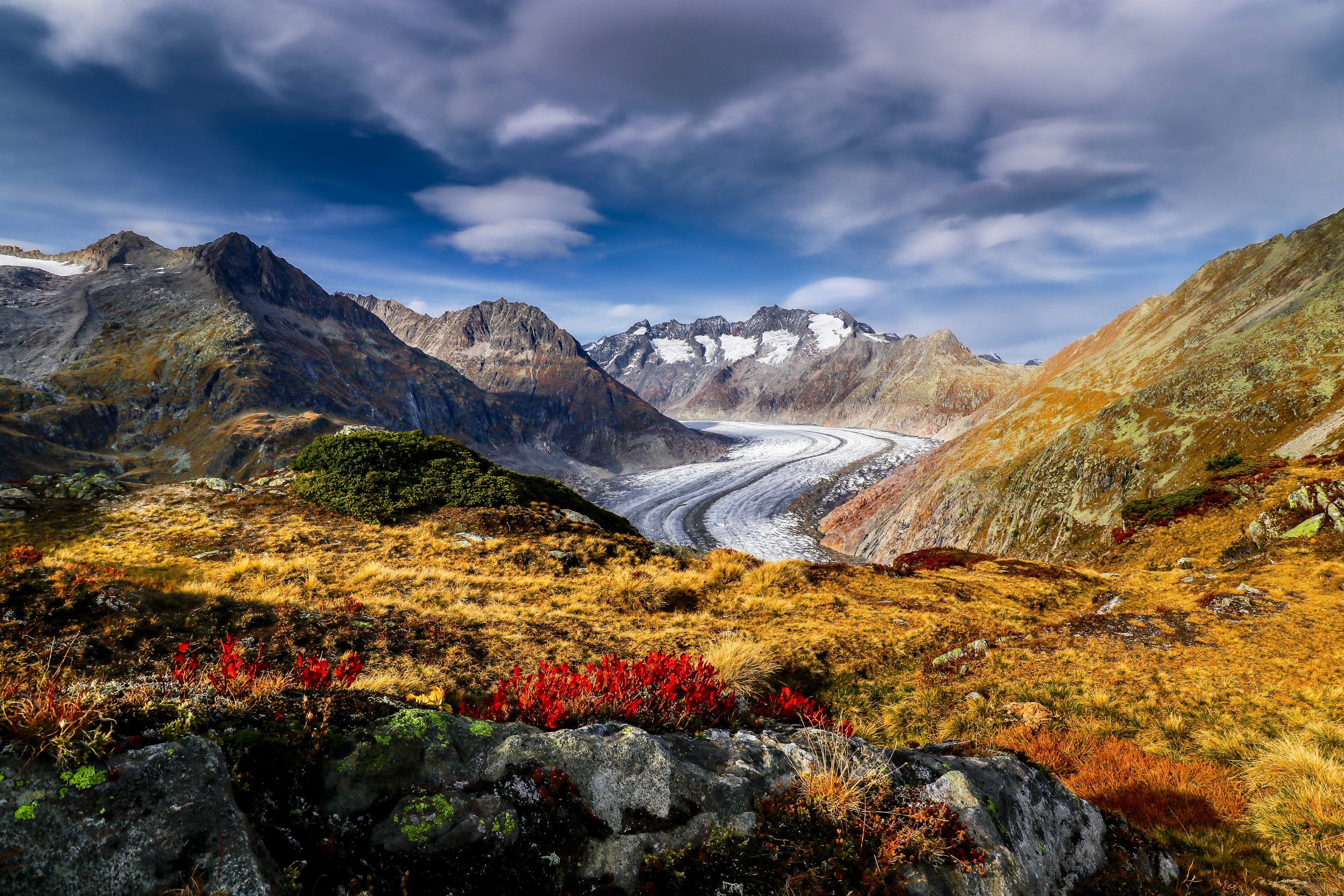 Картинки альп Швейцария Aletsch Glacier Горы Природа 3872x2581 Альпы гора