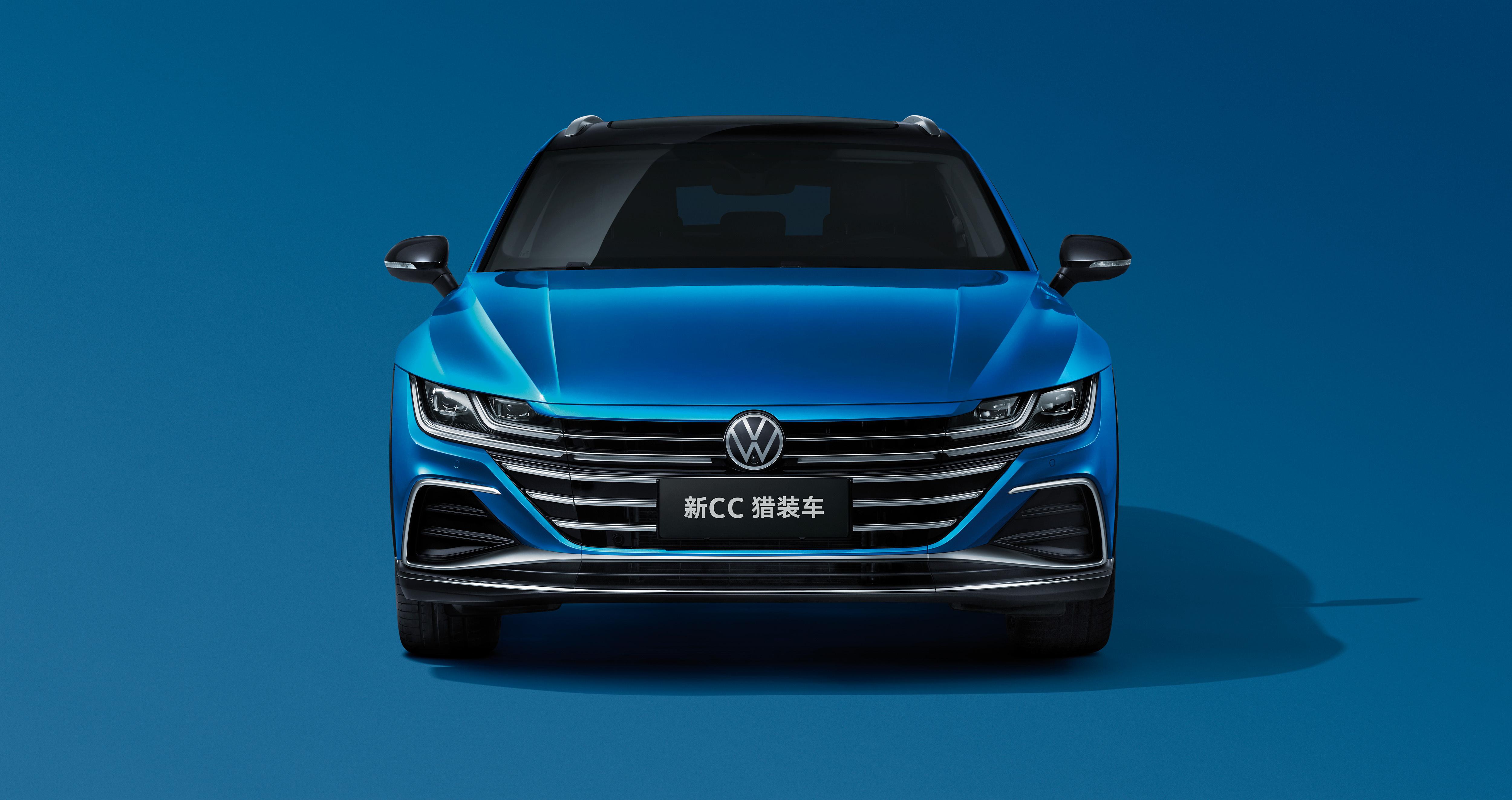 Картинка Фольксваген Универсал CC Shooting Brake 380 TSI, China, 2020 синие авто Спереди Металлик Цветной фон 5000x2647 Volkswagen синяя Синий синих машина машины Автомобили автомобиль