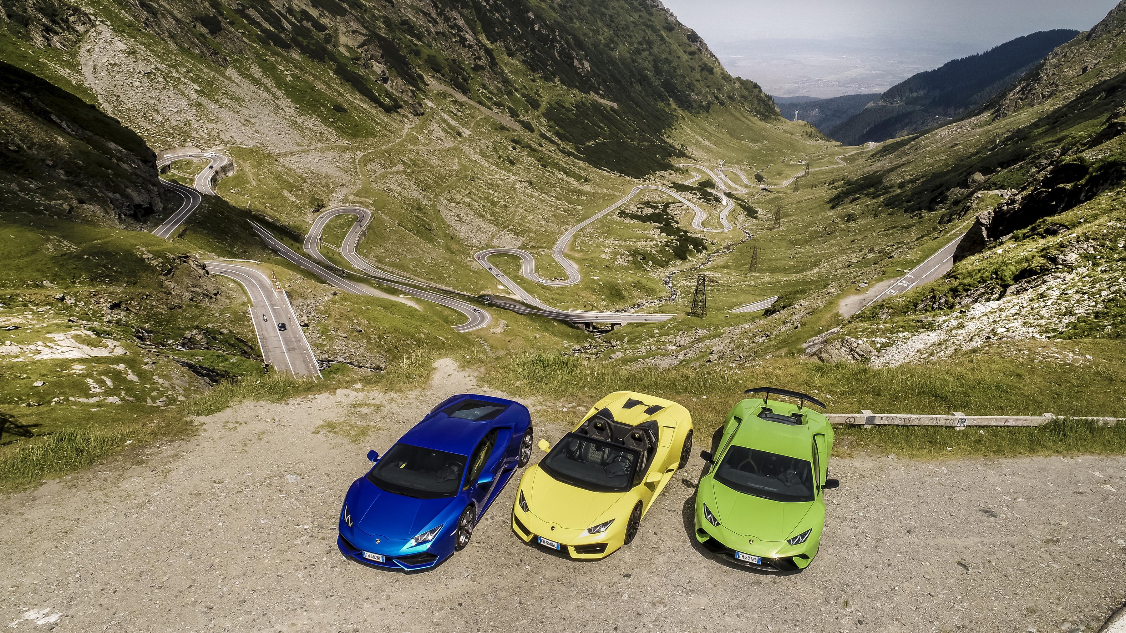 Фотографии Ламборгини Трое 3 машины 3600x2025 Lamborghini три авто машина втроем автомобиль Автомобили