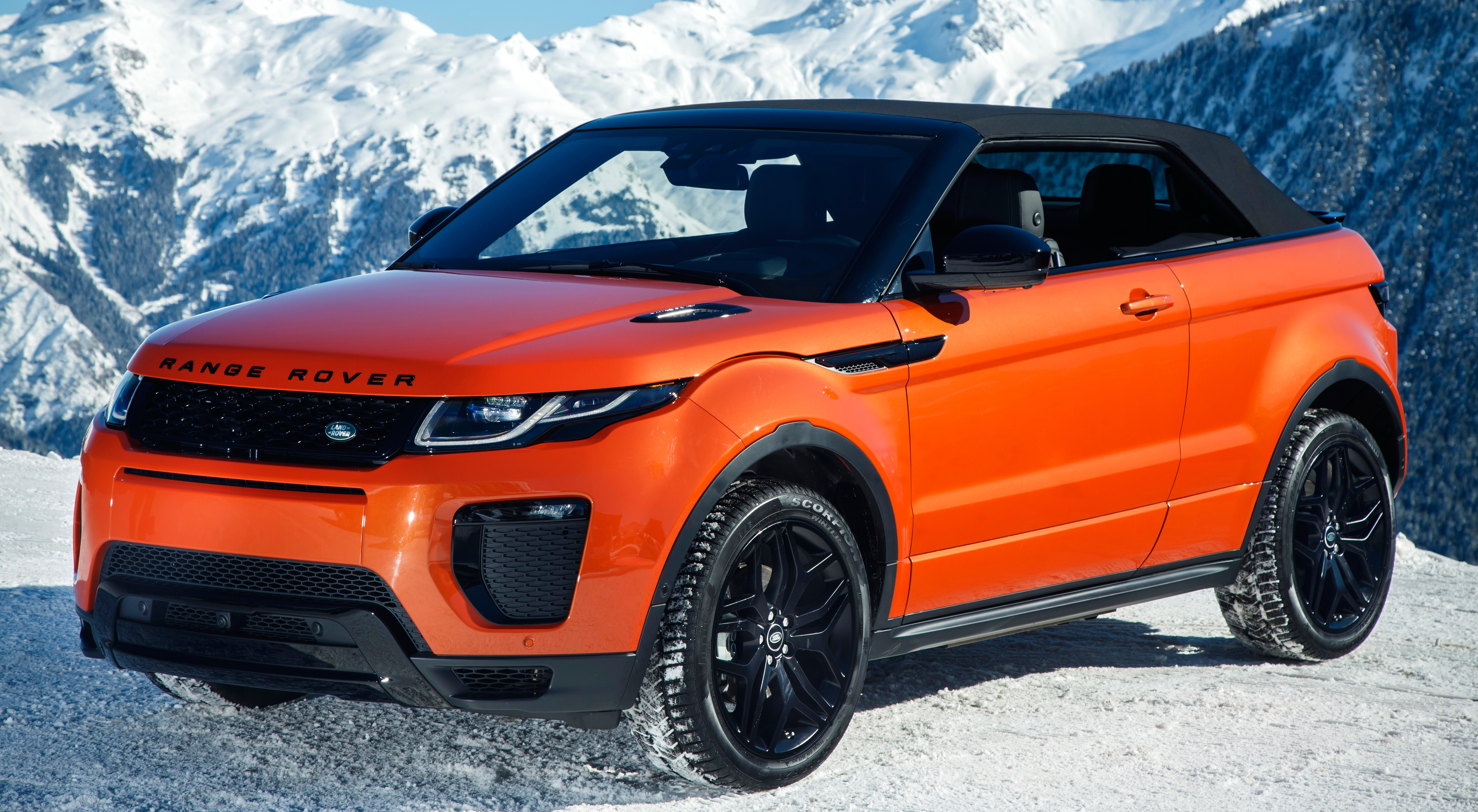 Обои для рабочего стола Land Rover Кроссовер Evoque, Convertible HSE Dynamic, 2016 оранжевая машина Металлик 5120x2815 Range Rover CUV Оранжевый оранжевые оранжевых авто машины Автомобили автомобиль