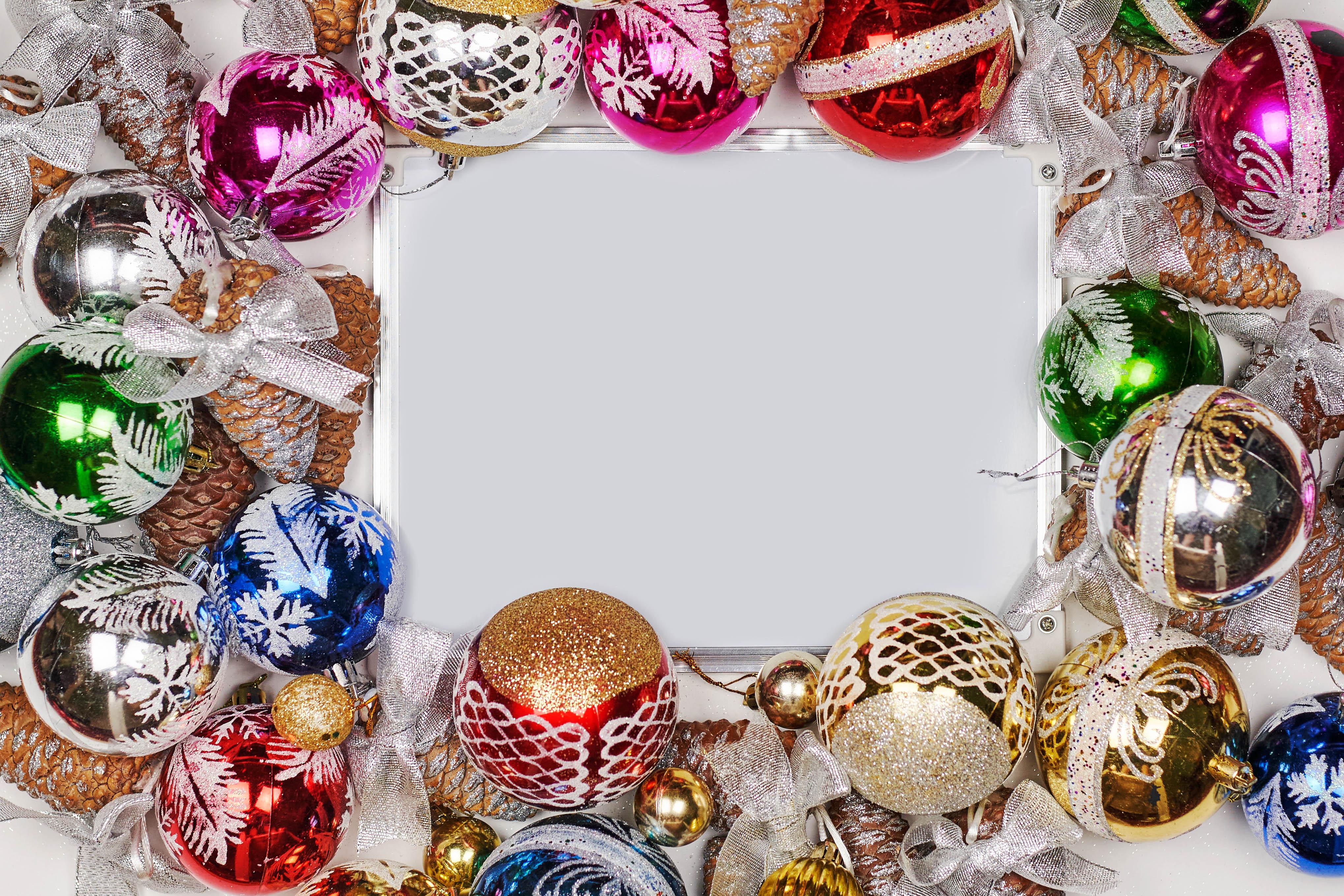 Обои для рабочего стола Новый год Шарики бантики Шаблон поздравительной открытки Рождество Шар бант Бантик