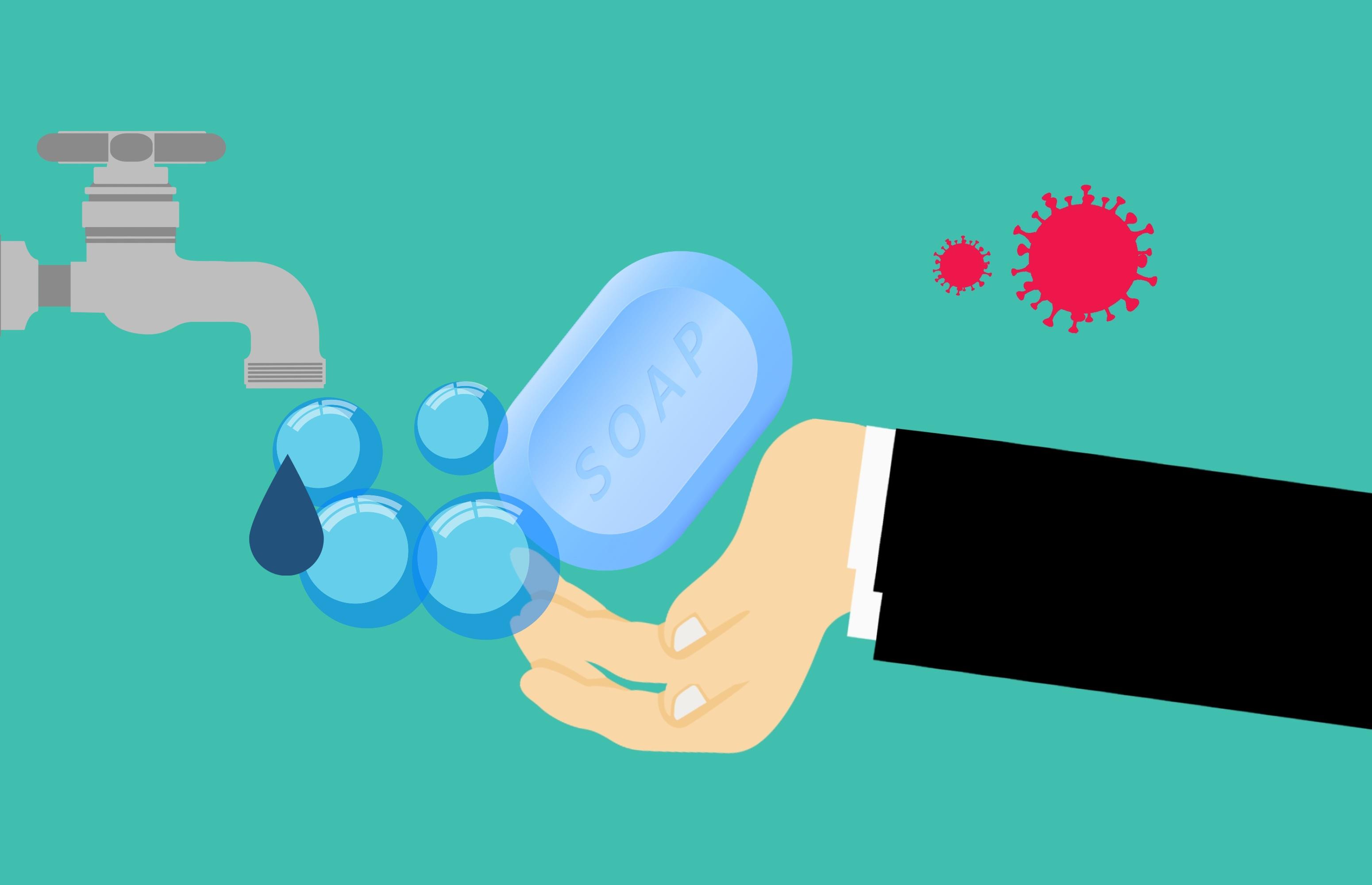 Обои для рабочего стола VIRUS WASH HANDS! coronavirus Мыло Кран водопроводный рука Вода Векторная графика Цветной фон Руки воде