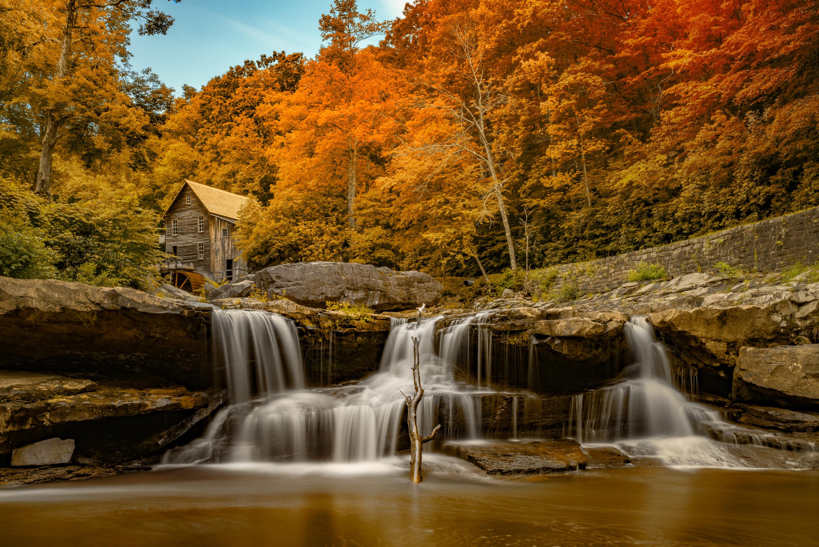 природа водопад деревья осень дом nature waterfall trees autumn the house скачать