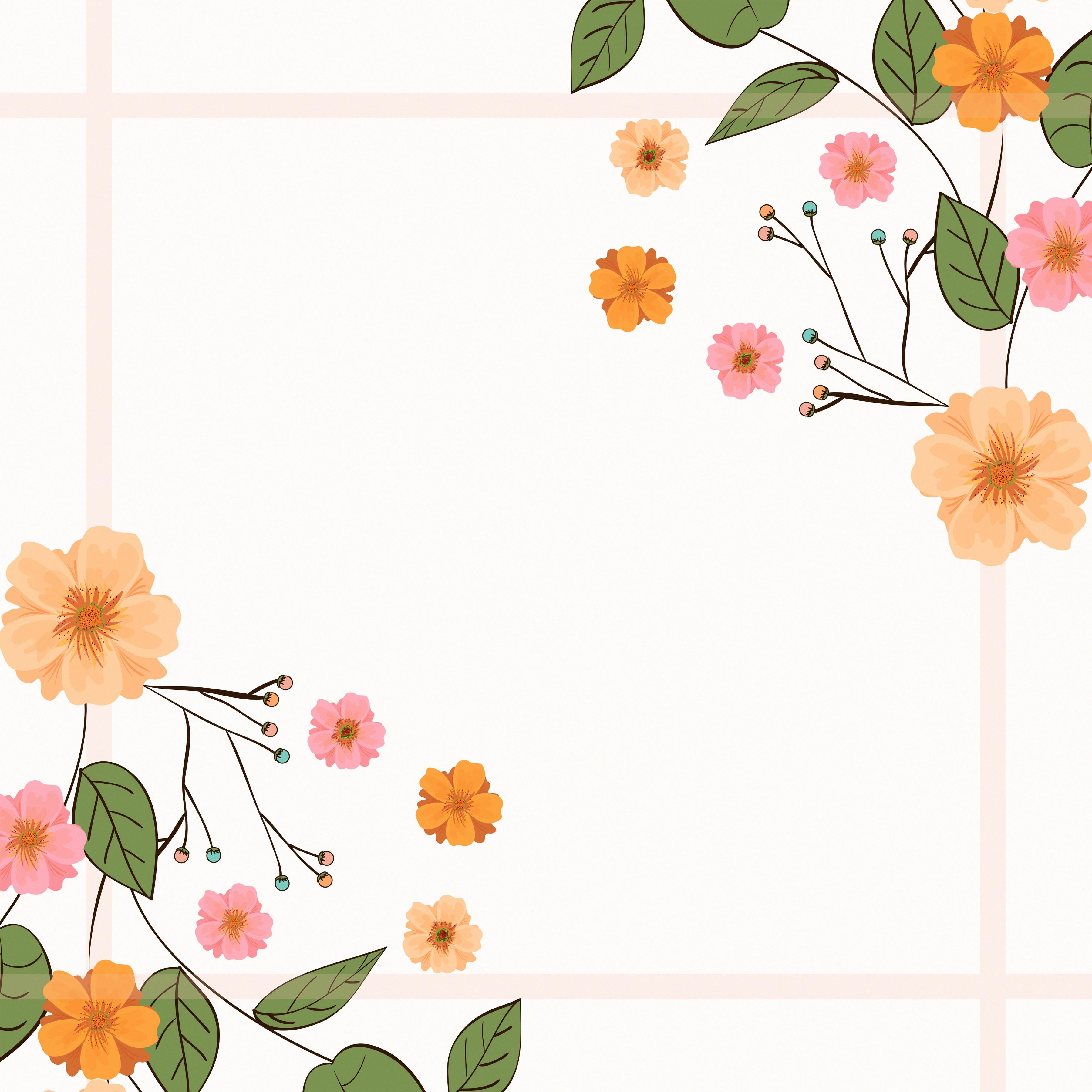 Фотографии лист цветок Шаблон поздравительной открытки Рисованные 3600x3600 Листва Листья Цветы