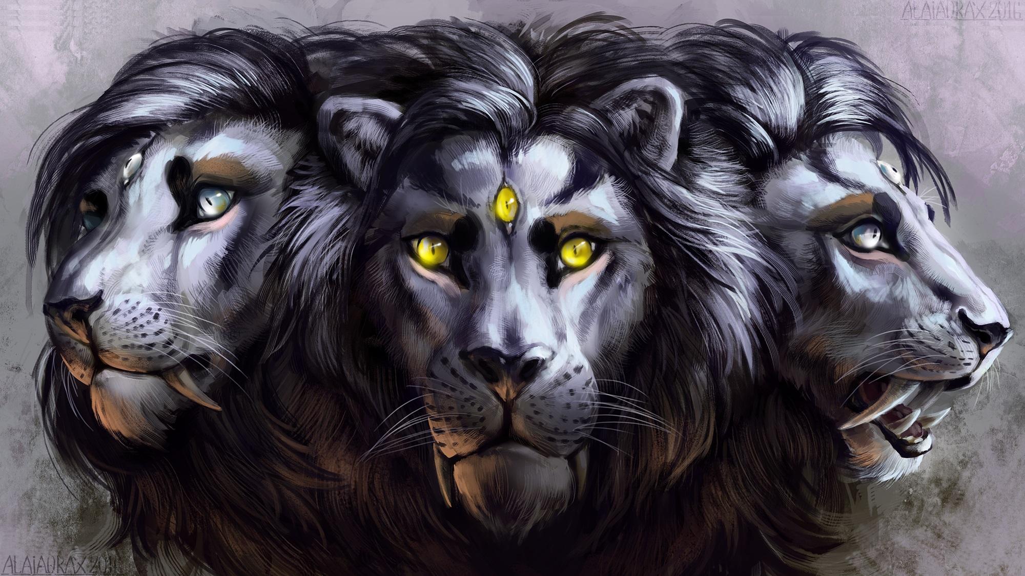 grande hembra fantasía en león