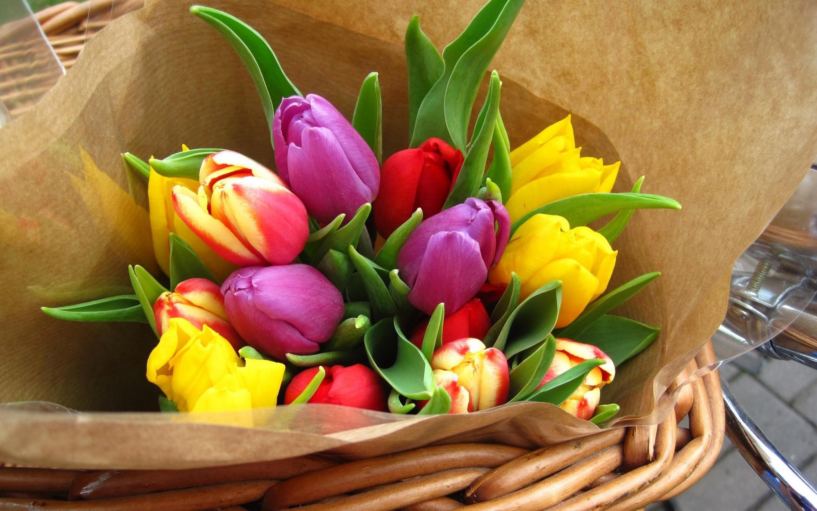 тюльпаны букет мешковина бесплатно