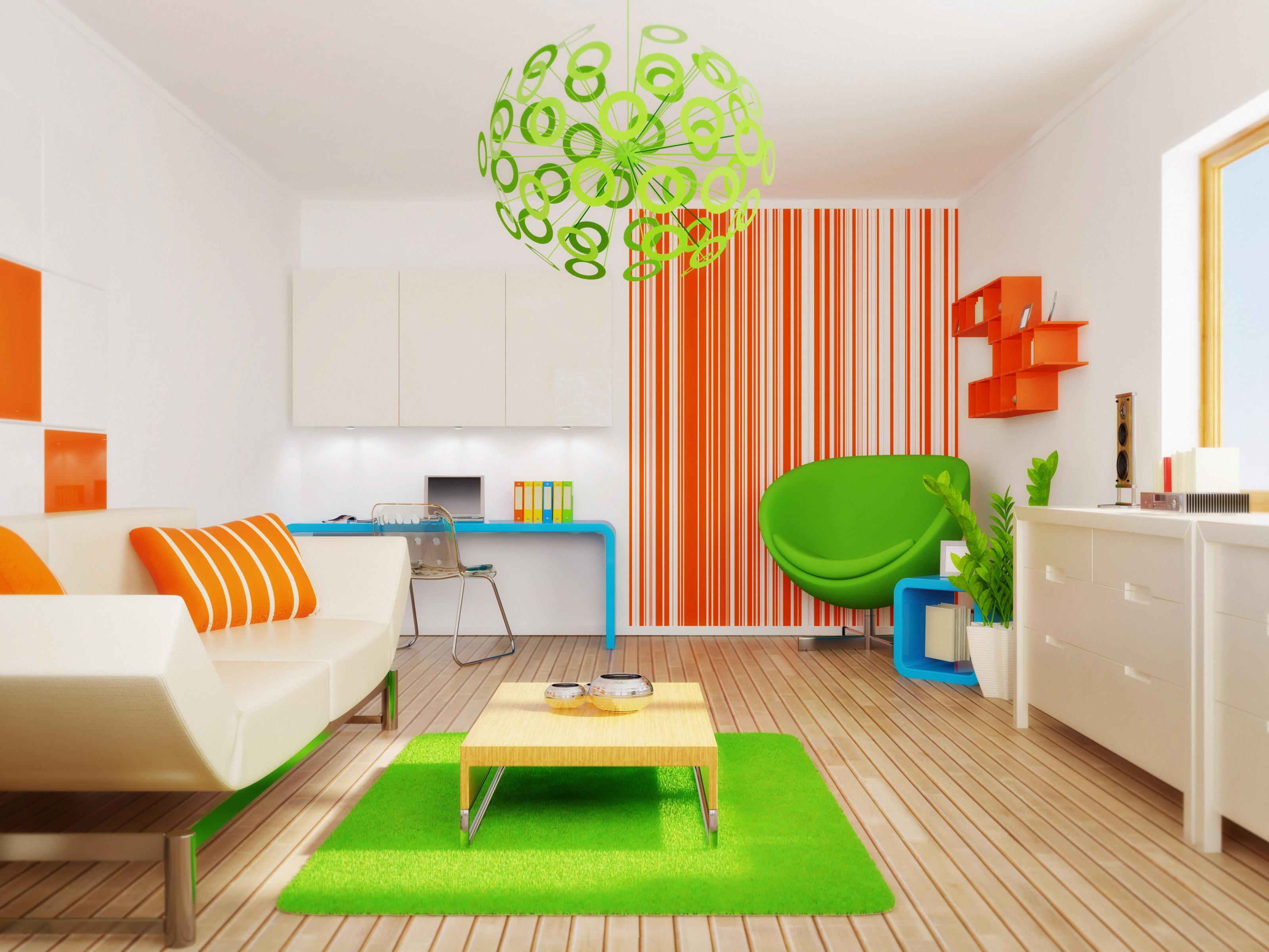 Картинка Детская комната 3D Графика Интерьер Диван Люстра Кресло Дизайн 3д люстры диване дизайна