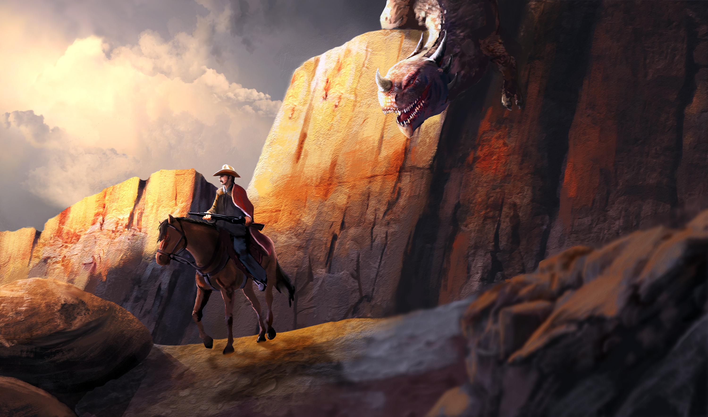 природа берег море гора скала лошадь наездник бесплатно