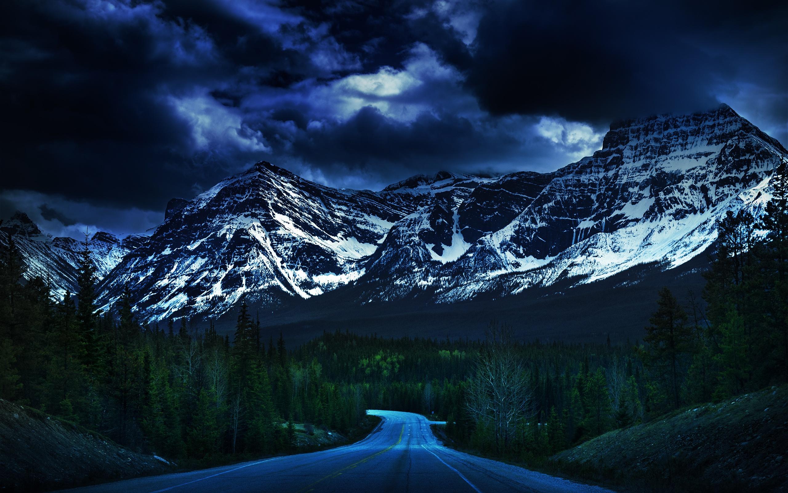 горы ночь лес дорога загрузить