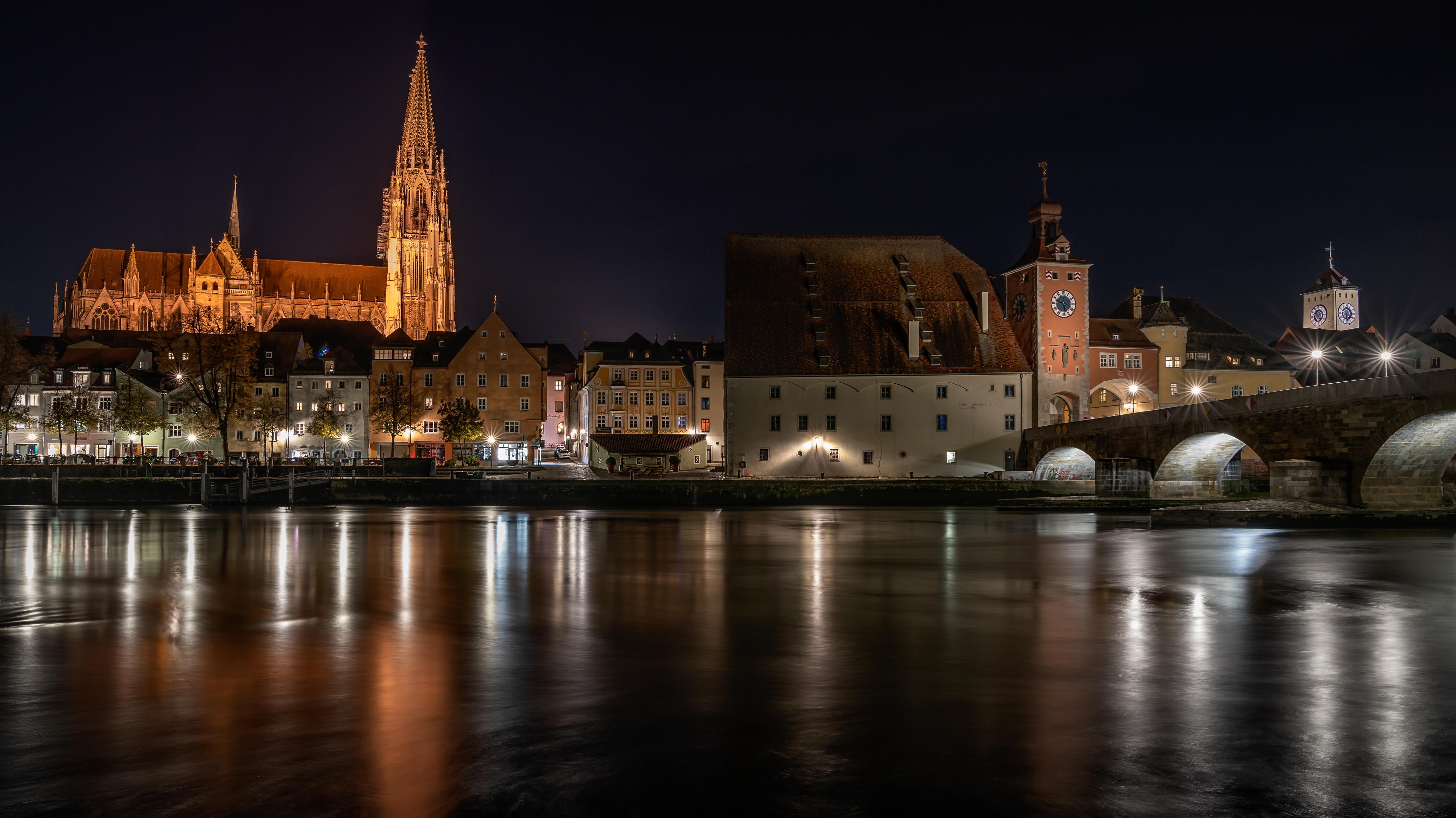 Картинка Германия Regensburg Мосты речка Ночные Города 4500x2531 мост Реки Ночь река ночью в ночи город