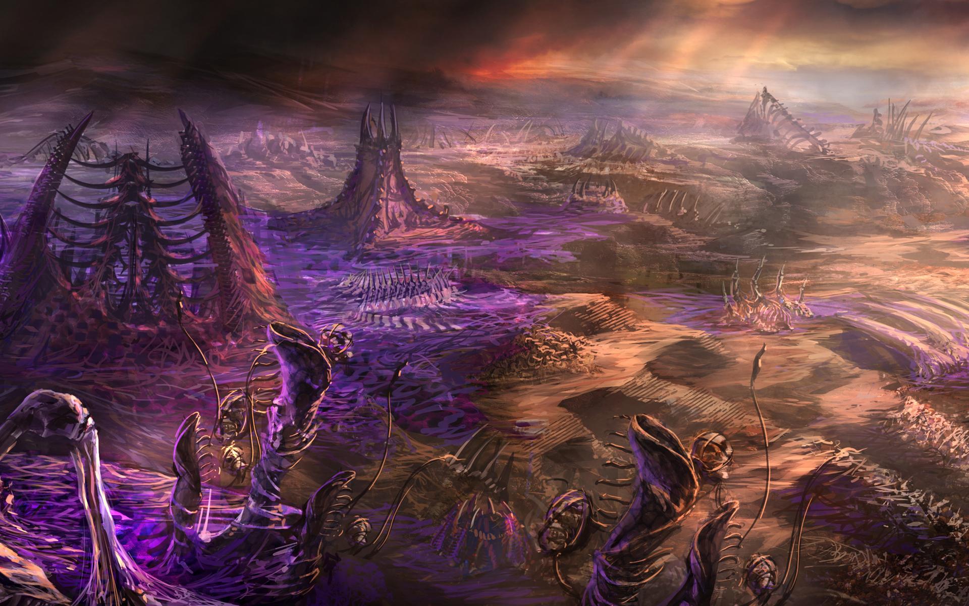 Картинка StarCraft 2 zerg living buildings skulls Фантастика Игры Фантастический мир Фэнтези компьютерная игра