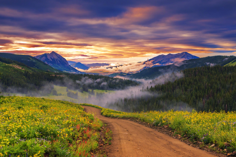 Солнце, рассвет, горы, холмы, дорога без смс