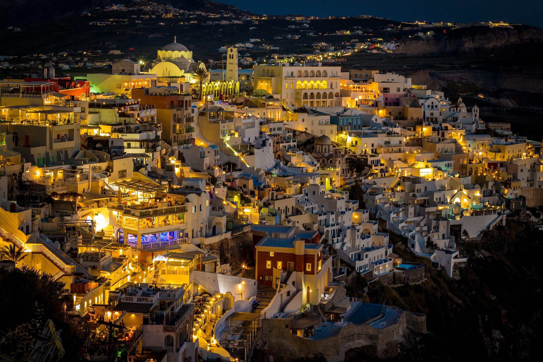 Фотографии Фира Греция Ночь Здания Города Тира Санторини ночью в ночи Ночные Дома город
