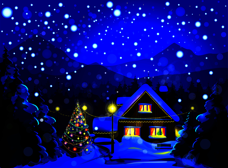 новый год домик огоньки поезд снег бесплатно