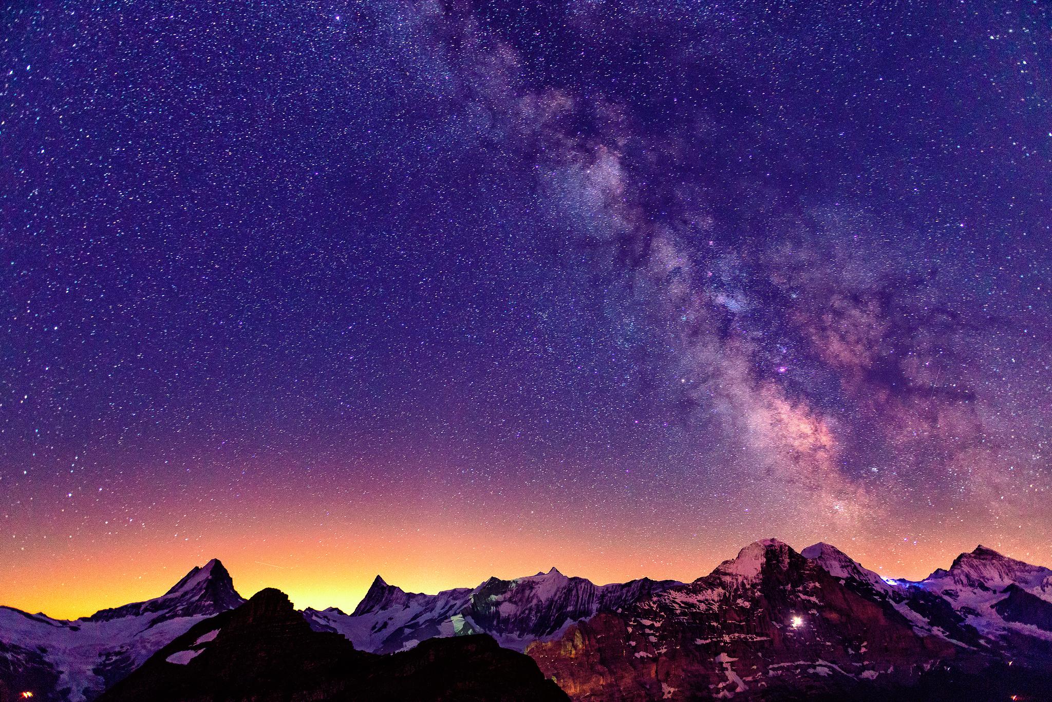 ночь звезды освещение горы бесплатно
