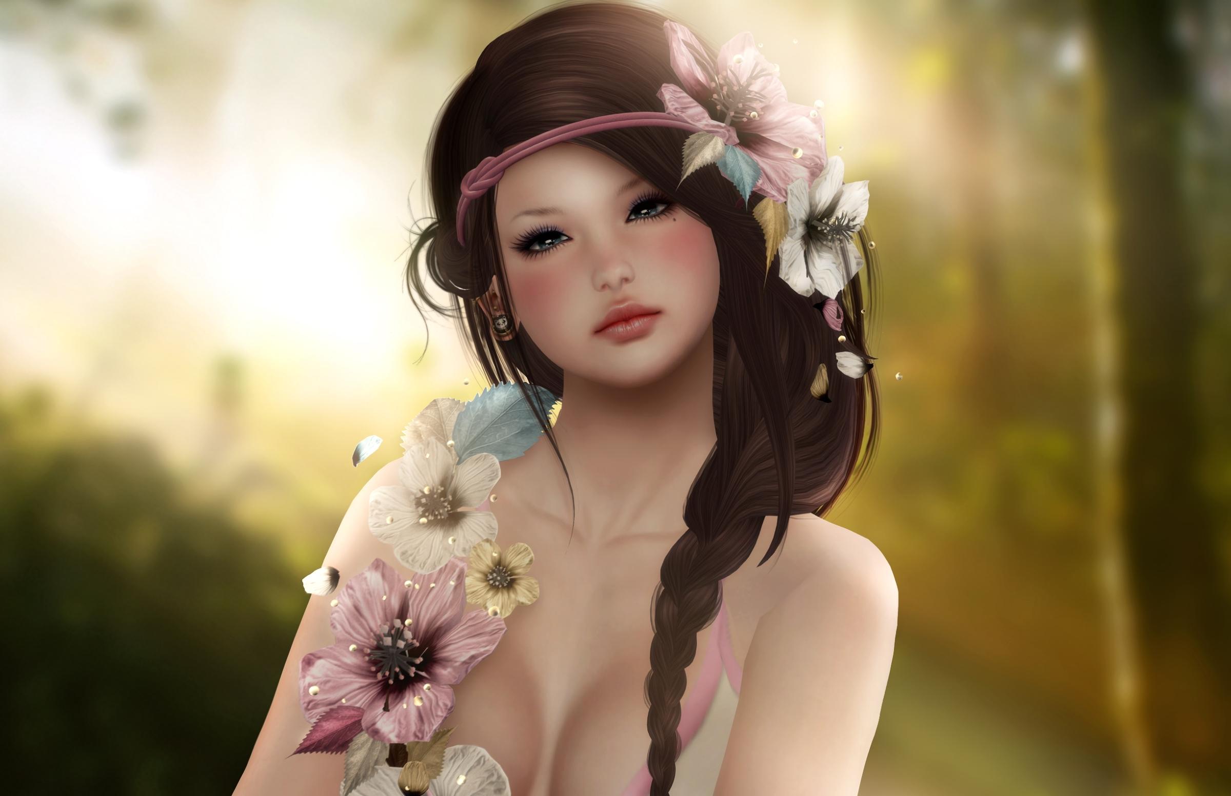 Девушка брюнетка бабочка с венком загрузить