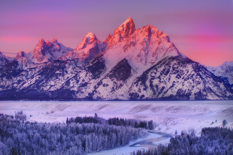 гора снег закат бесплатно