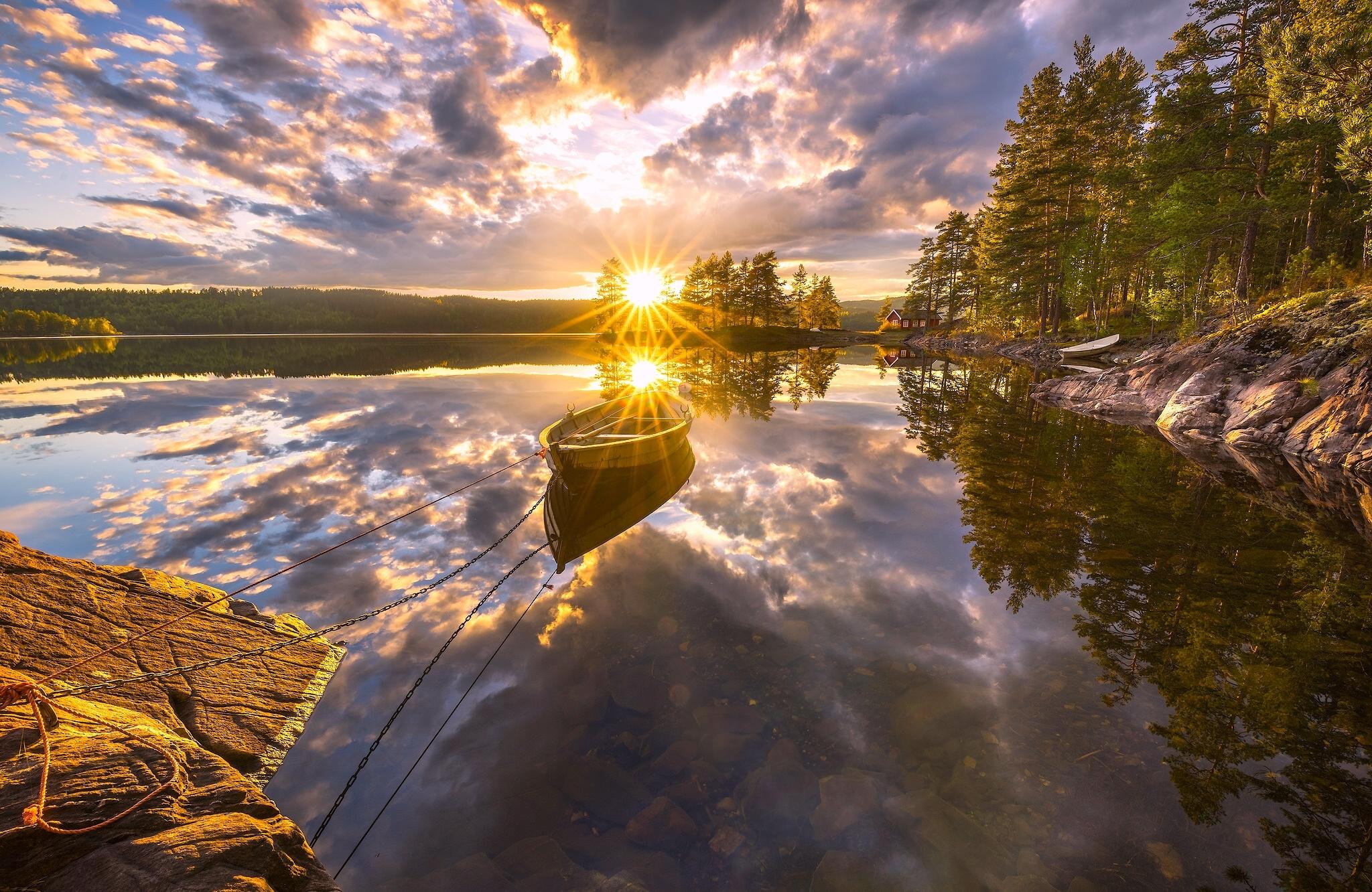 природа солнце озеро отражение деревья загрузить