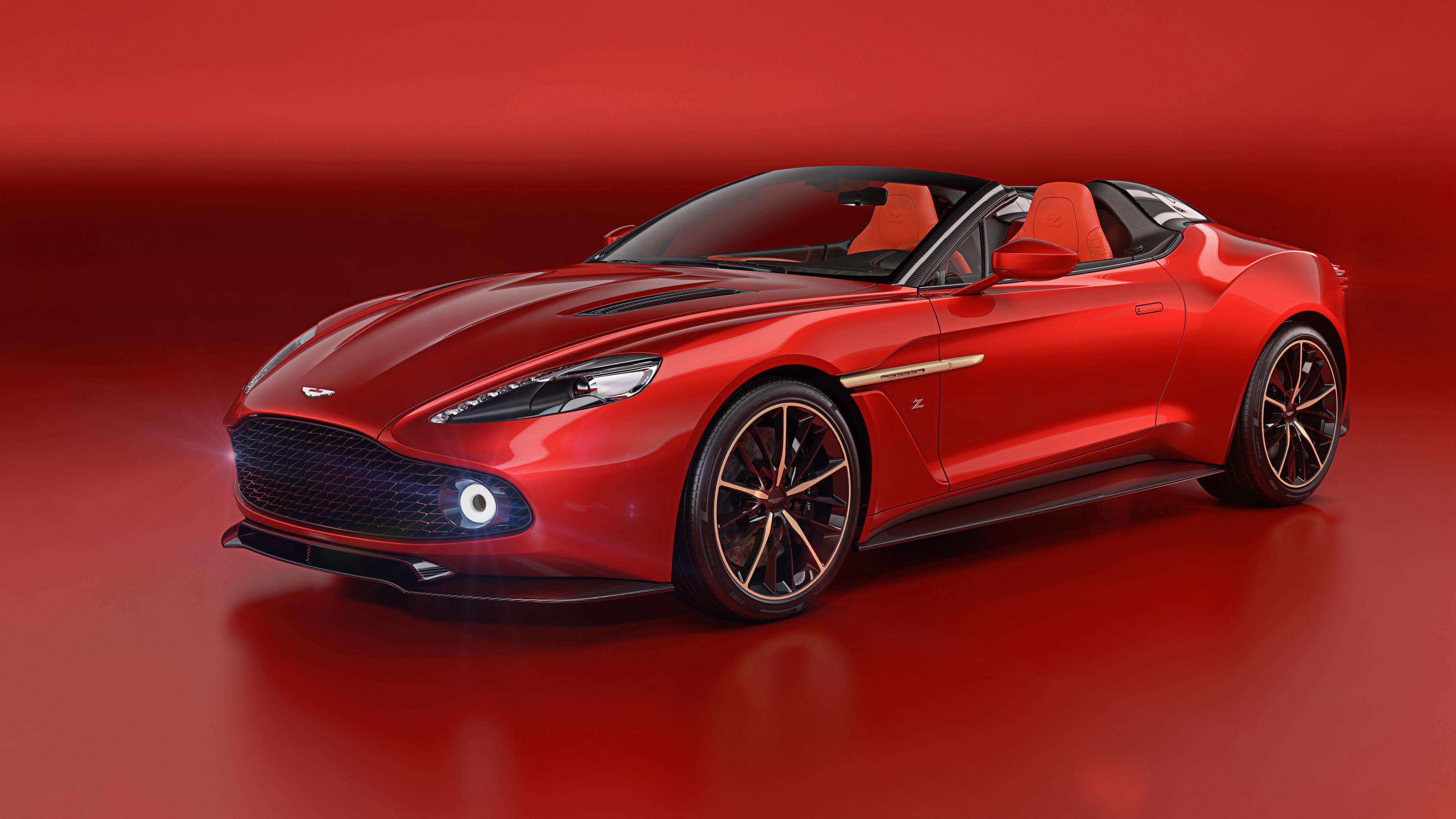 Картинки Астон мартин 2018 Vanquish Zagato Speedster Zagato Кабриолет красные Металлик Автомобили Красный фон Aston Martin кабриолета красных Красный красная авто машина машины автомобиль красном фоне
