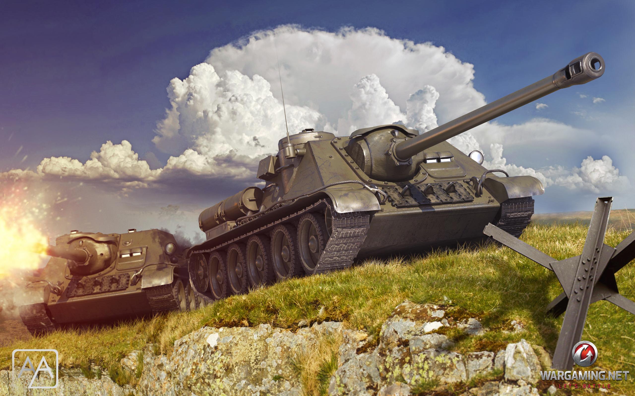 Обои для рабочего стола World of Tanks САУ USSR SU-85 3д вдвоем Игры 2560x1600 WOT Самоходка 2 два две Двое 3D Графика компьютерная игра