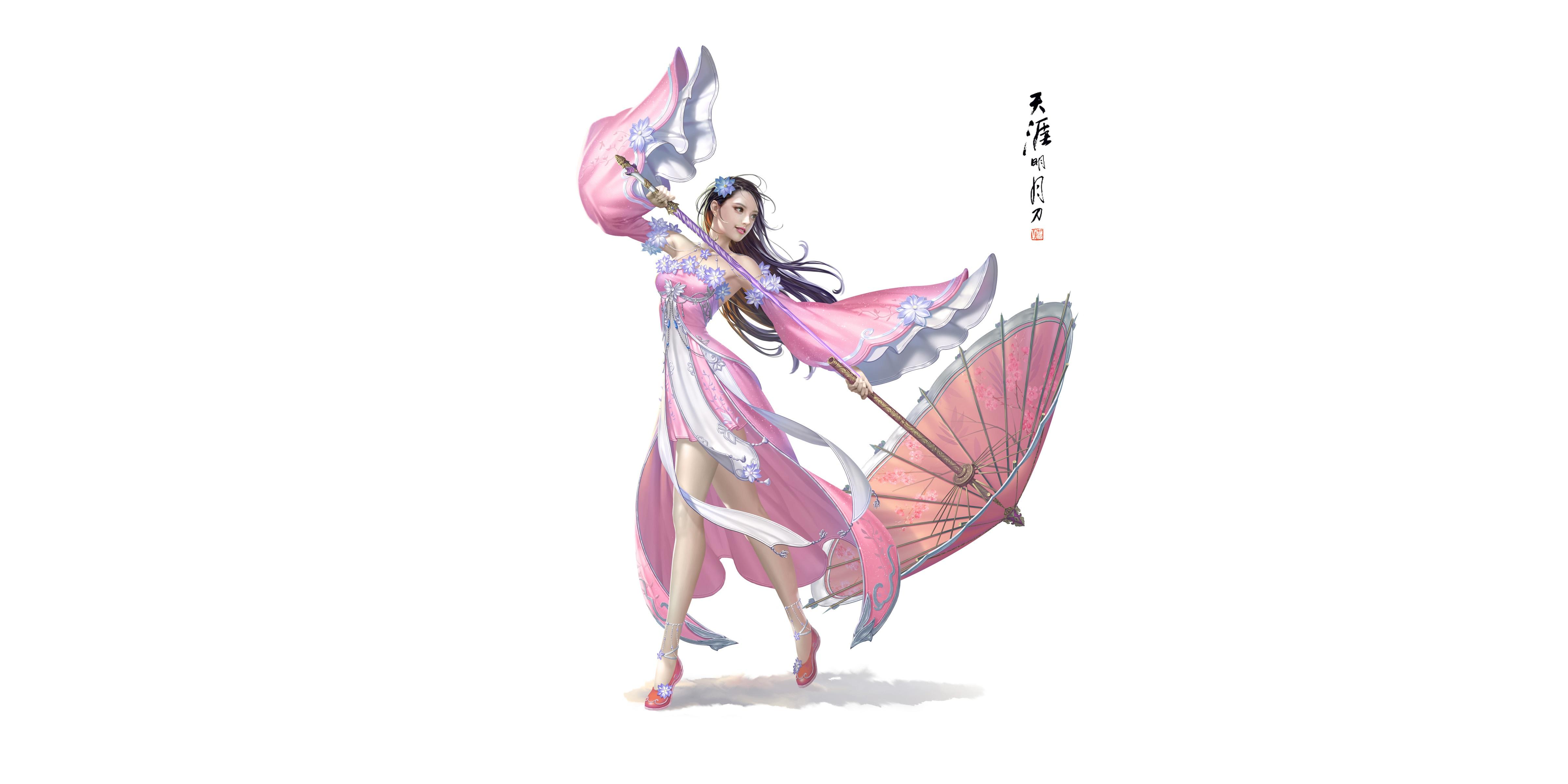 Картинка Bageumi Красивые молодая женщина азиатки зонтик белым фоном Платье 4800x2400 красивая красивый девушка Девушки молодые женщины Азиаты азиатка Зонт зонтом Белый фон белом фоне платья
