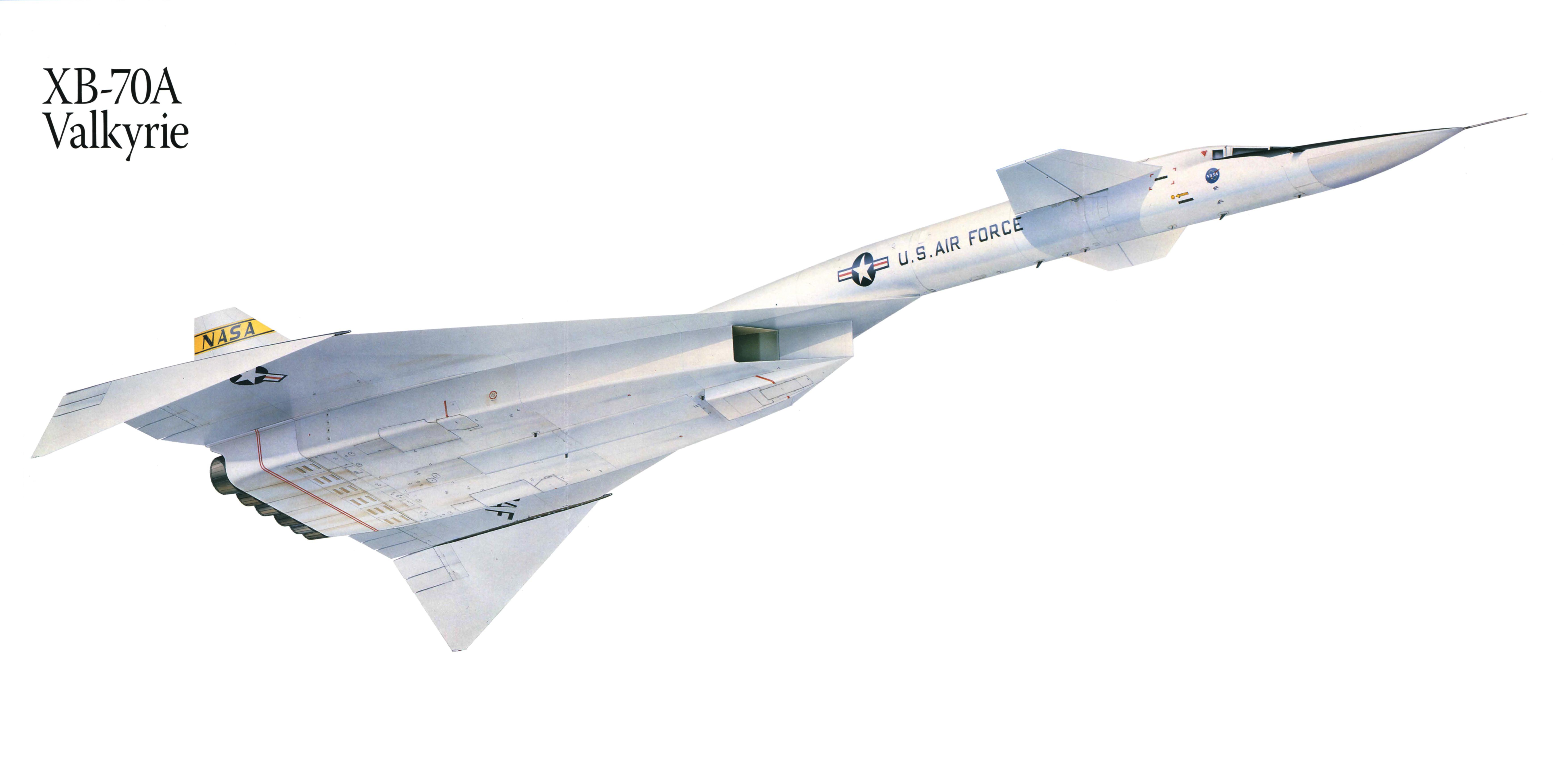 Картинка Самолеты XB-70A Valkyrie Рисованные Авиация 7028x3514