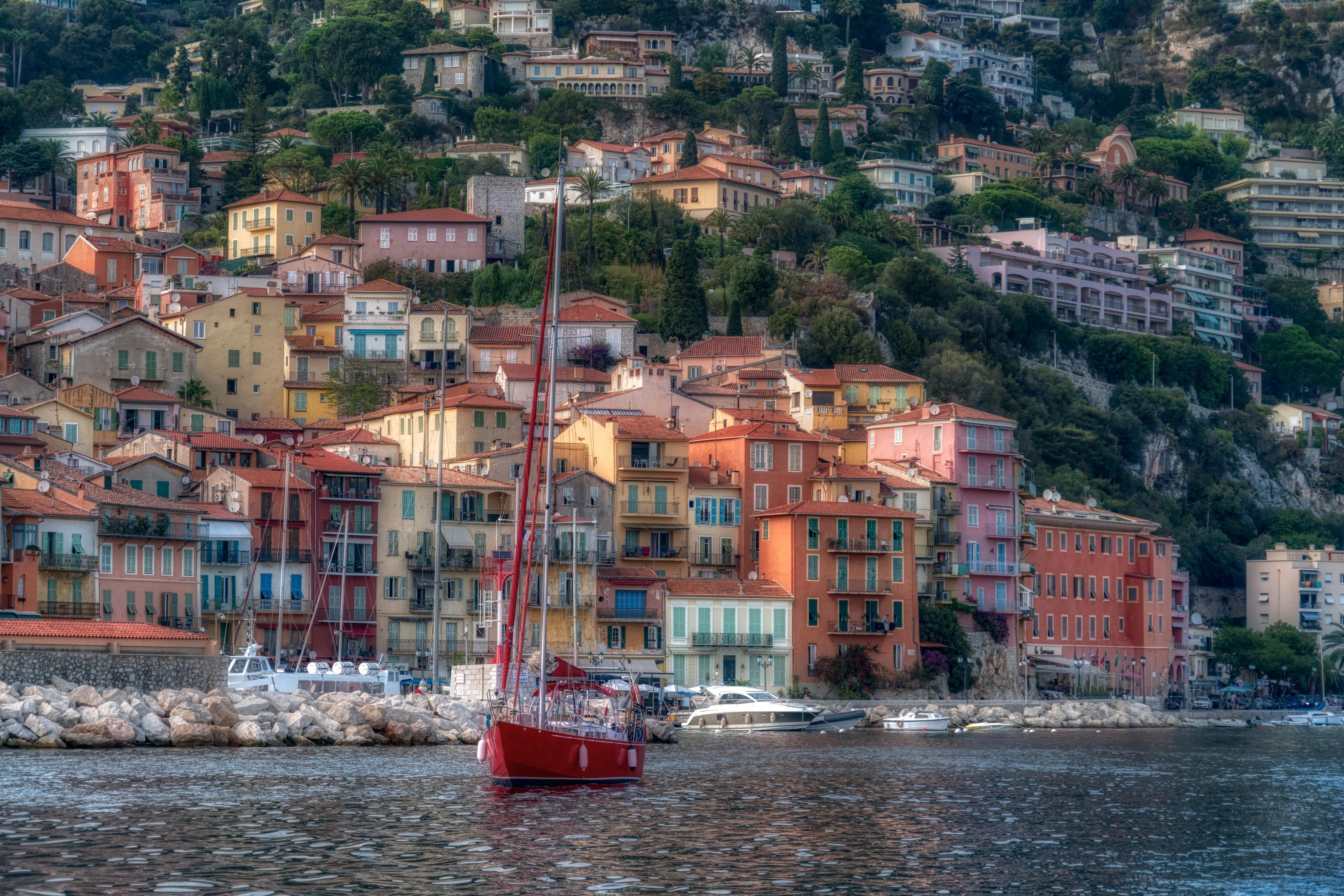 Картинка Франция French Riviera Villefranche-sur-Mer HDRI Яхта Побережье Дома город 5000x3335 HDR берег Города Здания