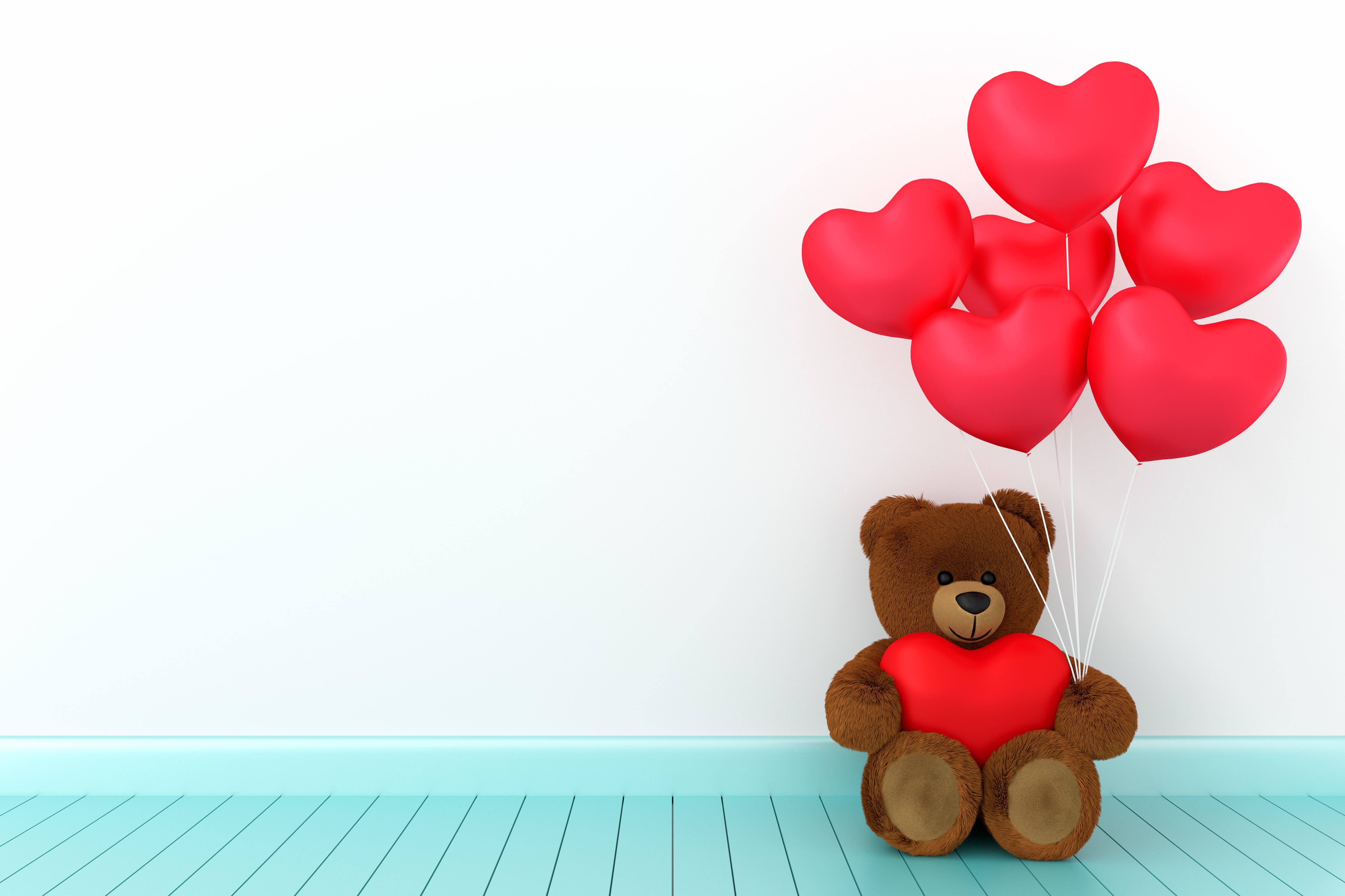 Фото День всех влюблённых сердца Воздушный шарик 3D Графика Мишки 5315x3543 День святого Валентина серце Сердце сердечко воздушные шарики воздушным шариком воздушных шариков 3д Плюшевый мишка