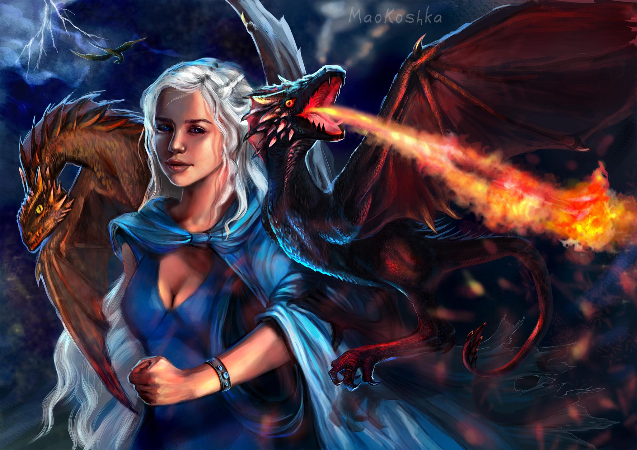 Драконы и девушки картинки