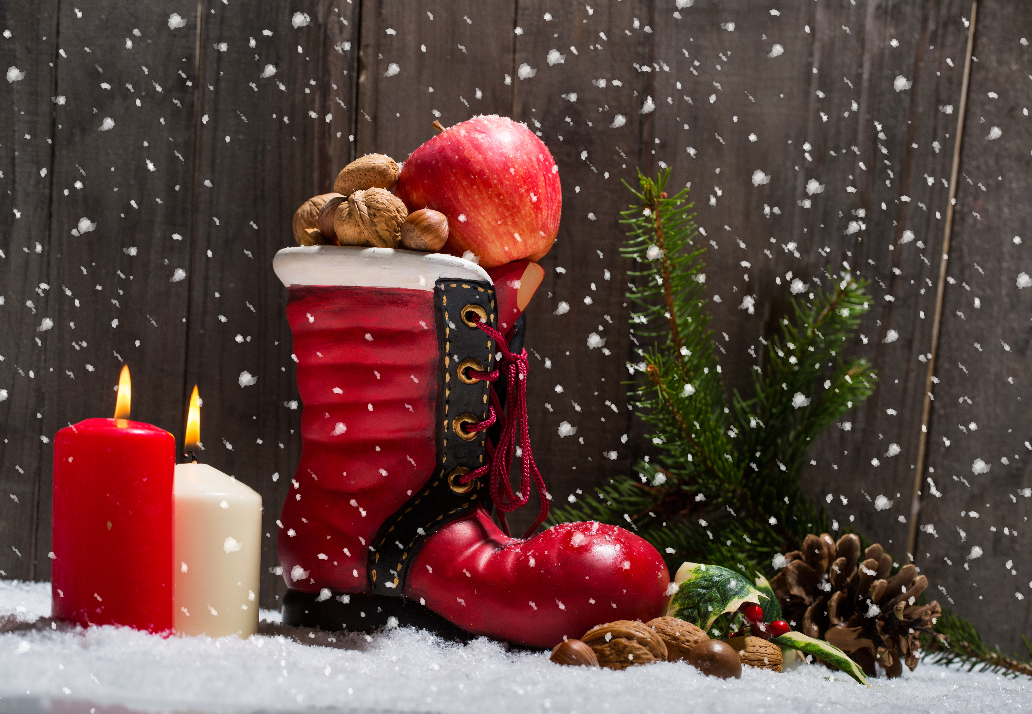 рождество, подарки, снег, ветка загрузить
