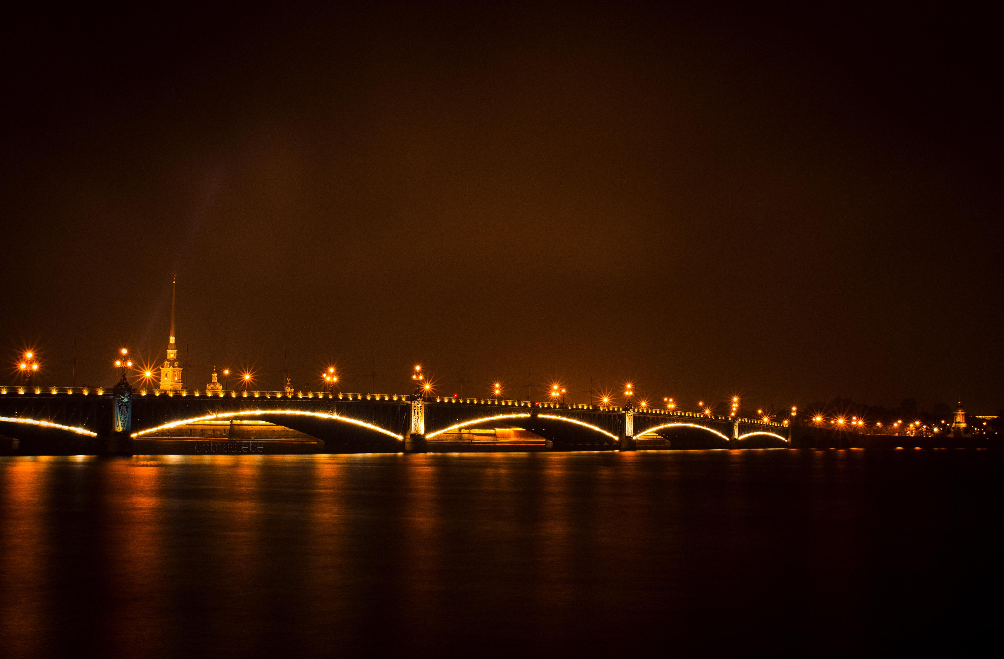 мост город вечер фонари бесплатно