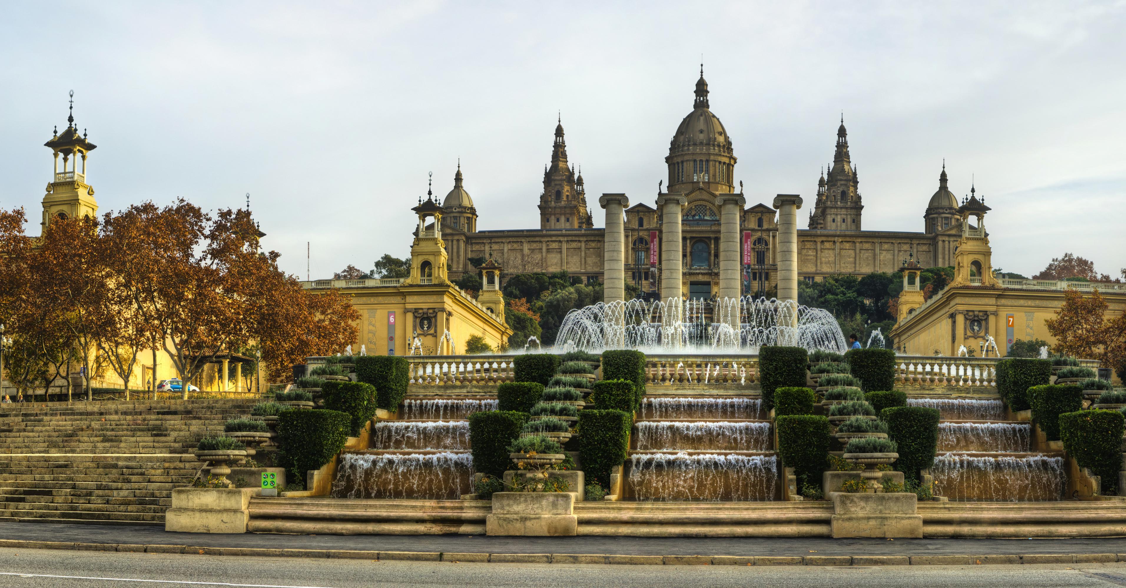 Фотография Барселона Дворец Испания Фонтаны National Palace лестницы Водопады Города 3825x2000 дворца Лестница город