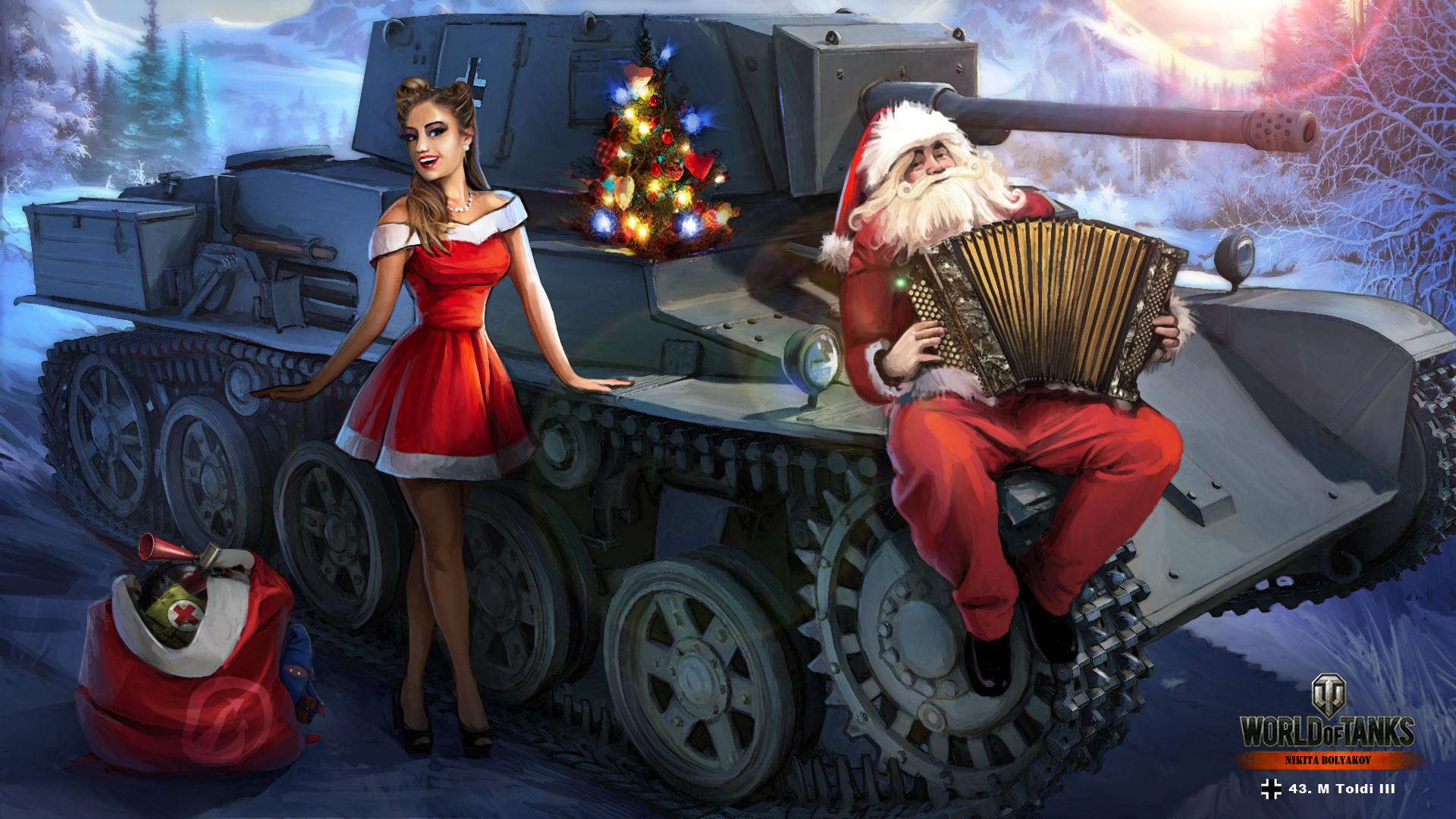Картинки WOT Nikita Bolyakov танк Новый год 43 m. Toldi III Девушки Санта-Клаус Игры 1920x1080 World of Tanks Танки Рождество девушка Дед Мороз молодая женщина молодые женщины компьютерная игра