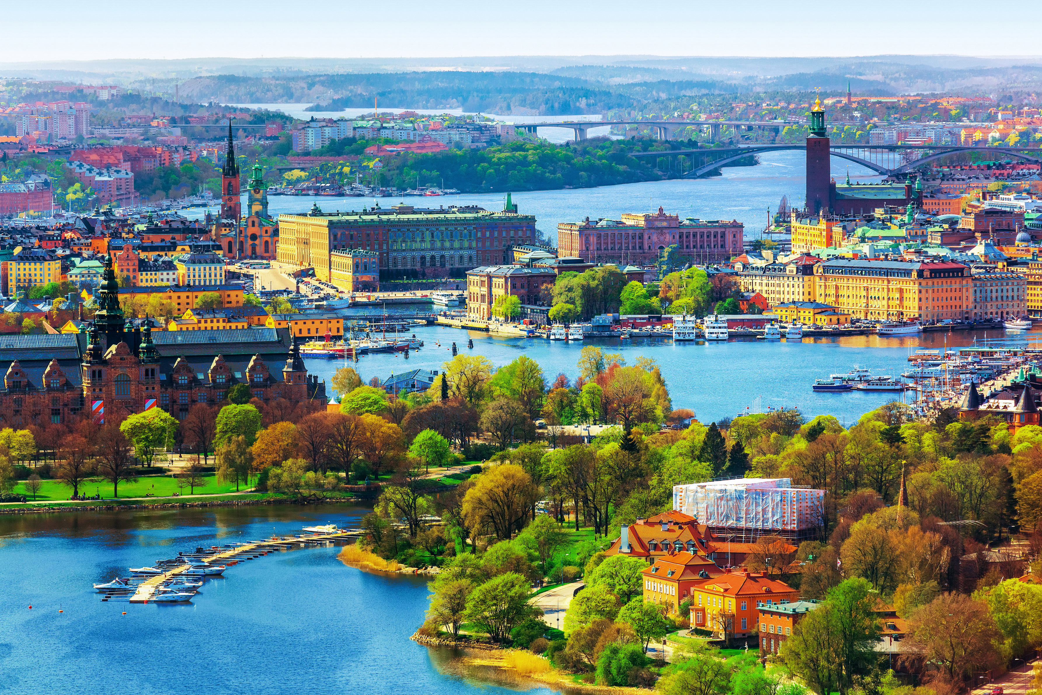 архитектура страны город река Стокгольм Швеция скачать