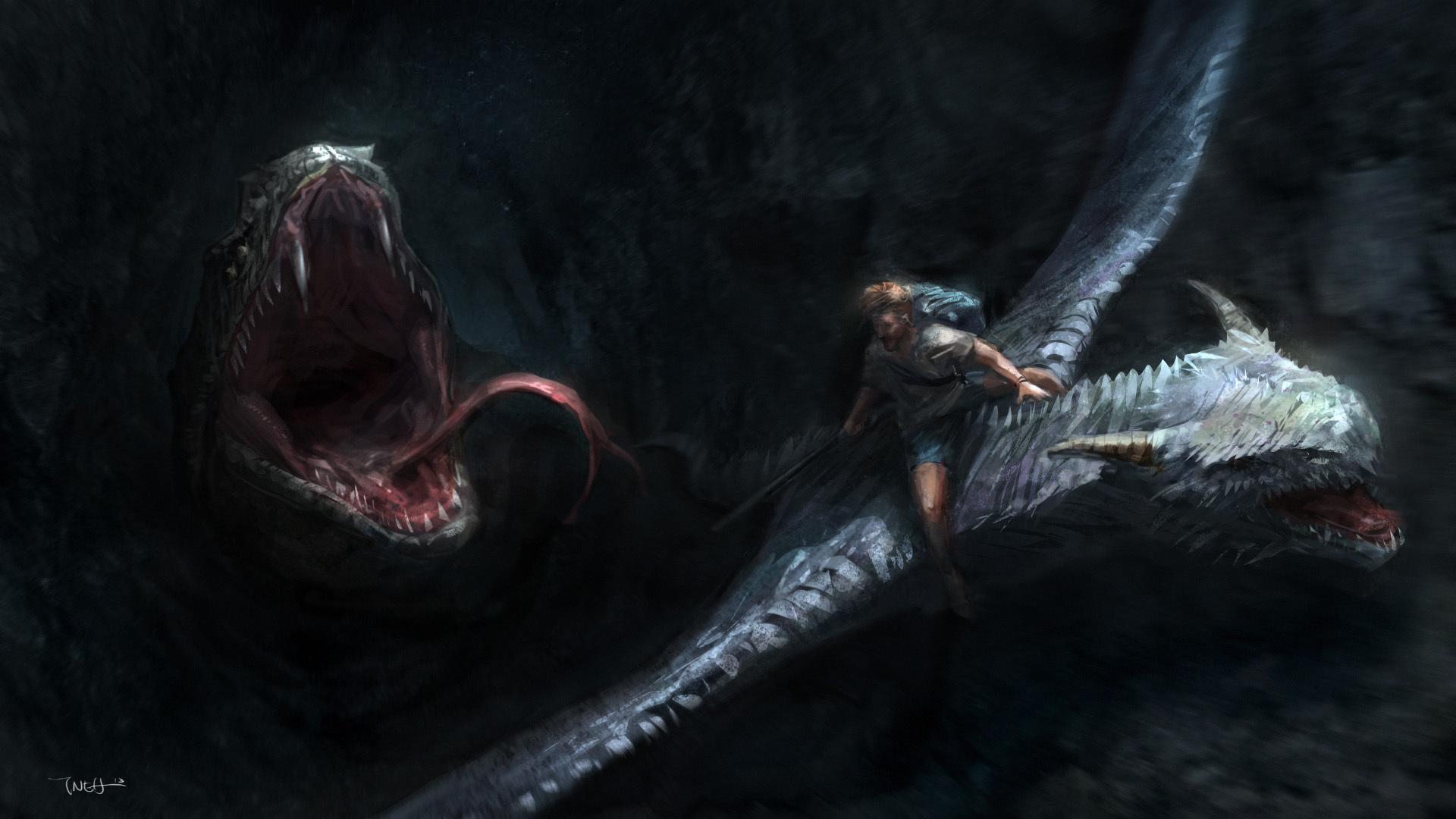 Фотографии Драконы Монстры мужчина Воители Фэнтези дракон монстр чудовище воин воины Мужчины Фантастика