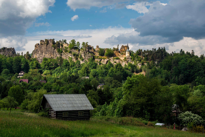 Фото Чехия castle Vranov Утес Замки Дома Города Скала Здания