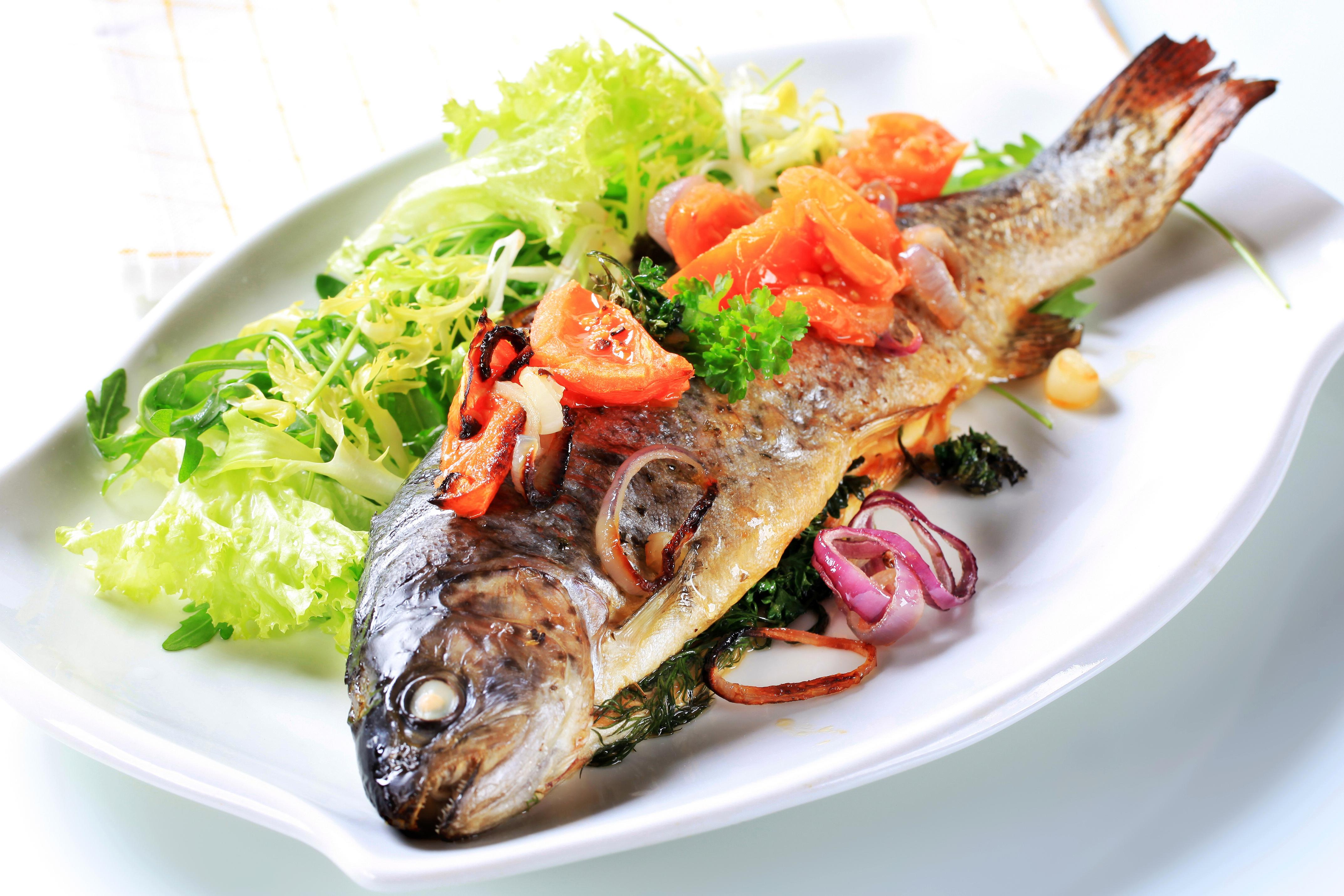 Фотографии Рыба Еда Овощи Тарелка 4291x2861 Пища Продукты питания