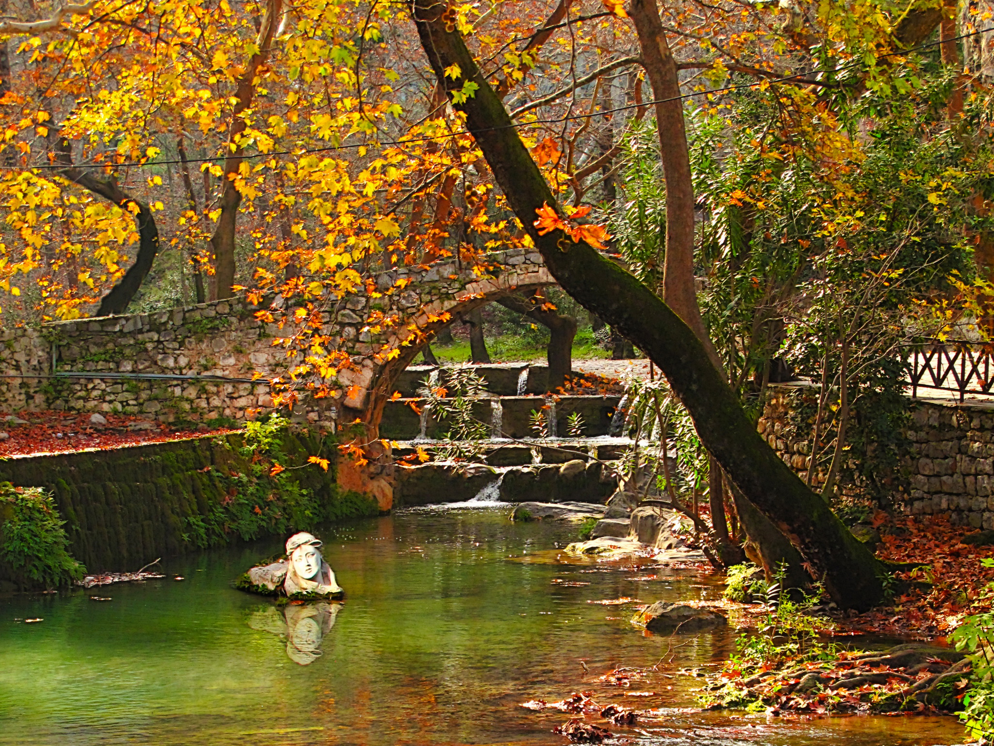 Картинка Греция Viotia Осень Мосты Природа Времена года 2048x1536 мост осенние сезон года