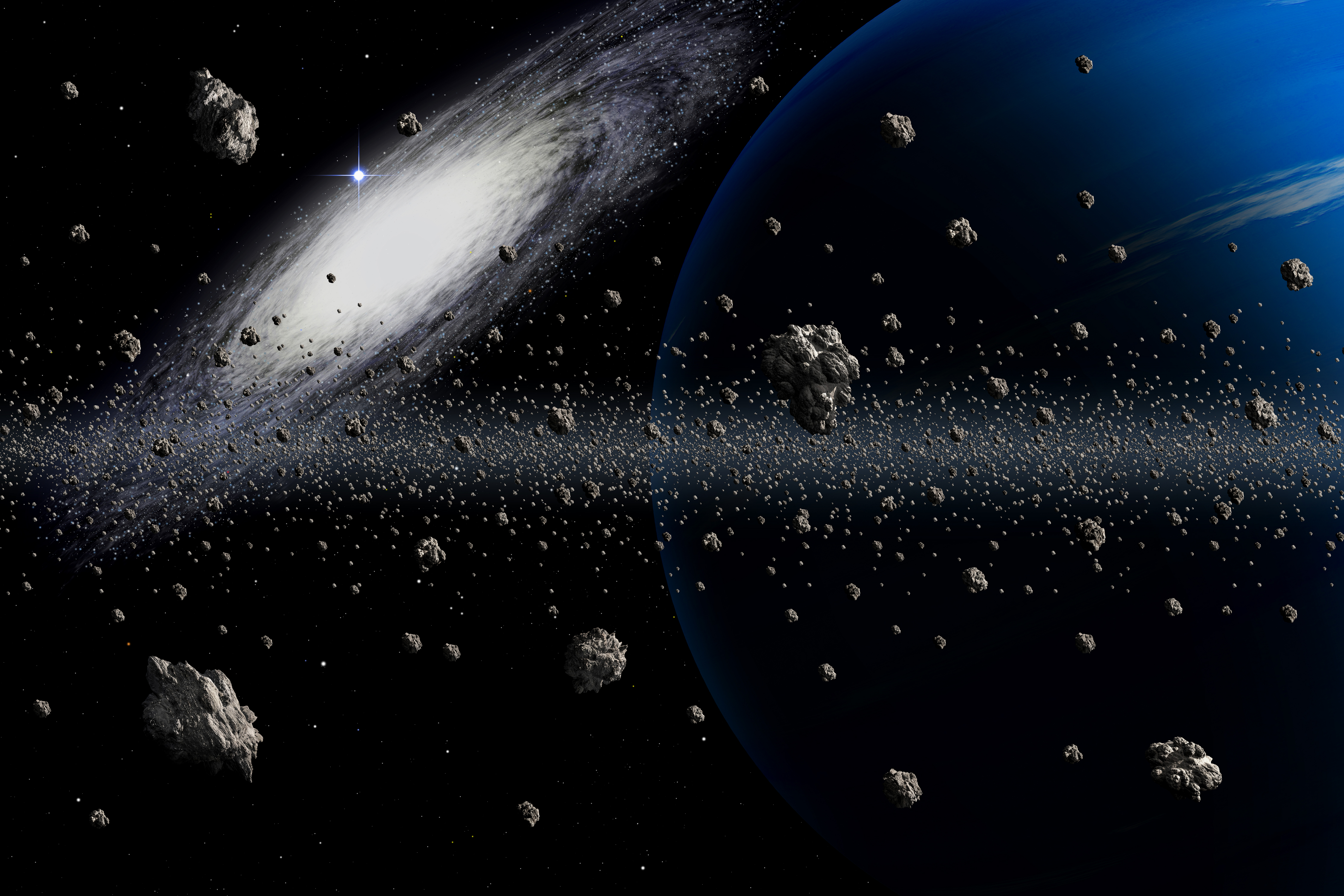 the asteroids in space - HD 4500×3000