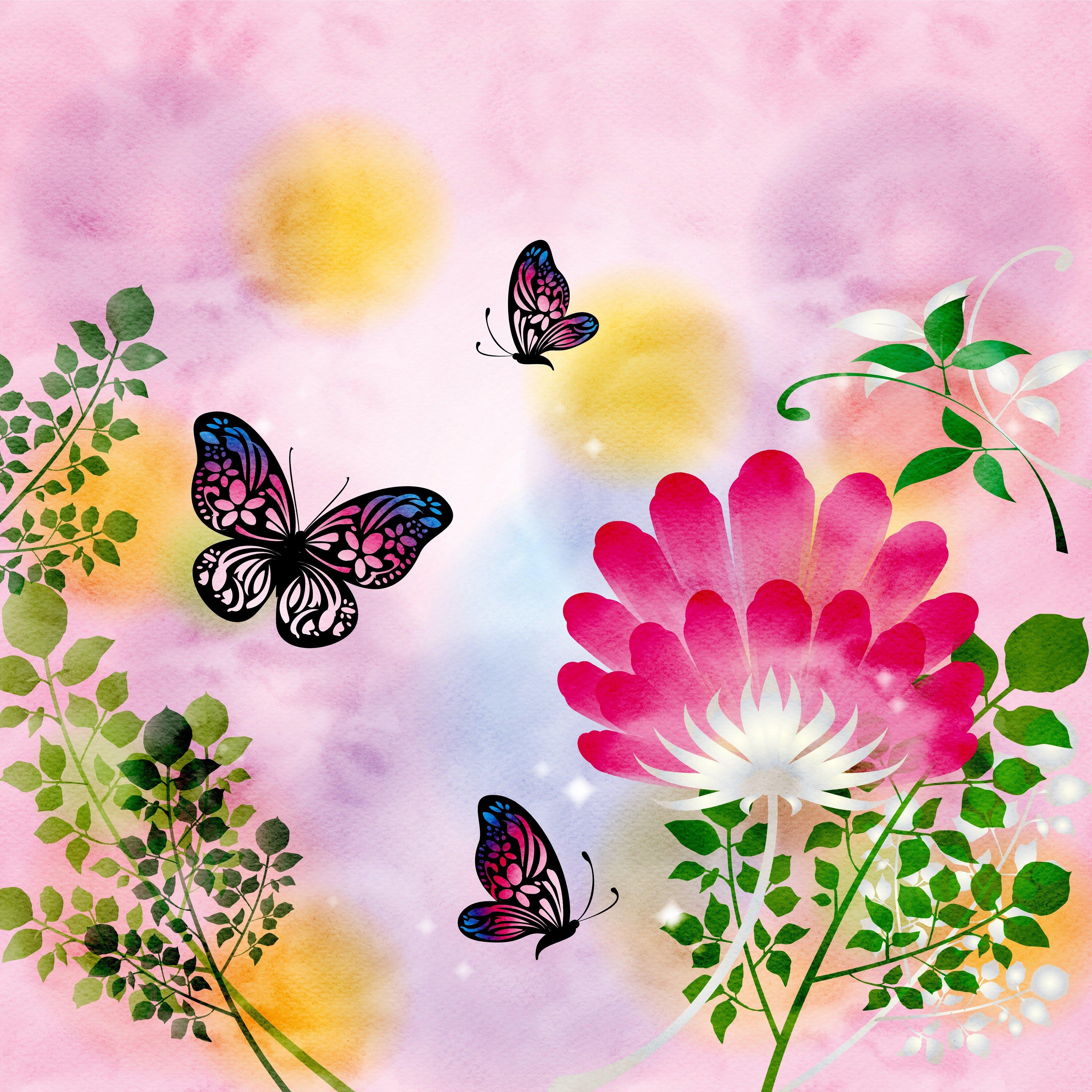 Обои для рабочего стола Бабочки бумаге ветвь Рисованные 3600x3600 бабочка Бумага бумаги Ветки ветка на ветке