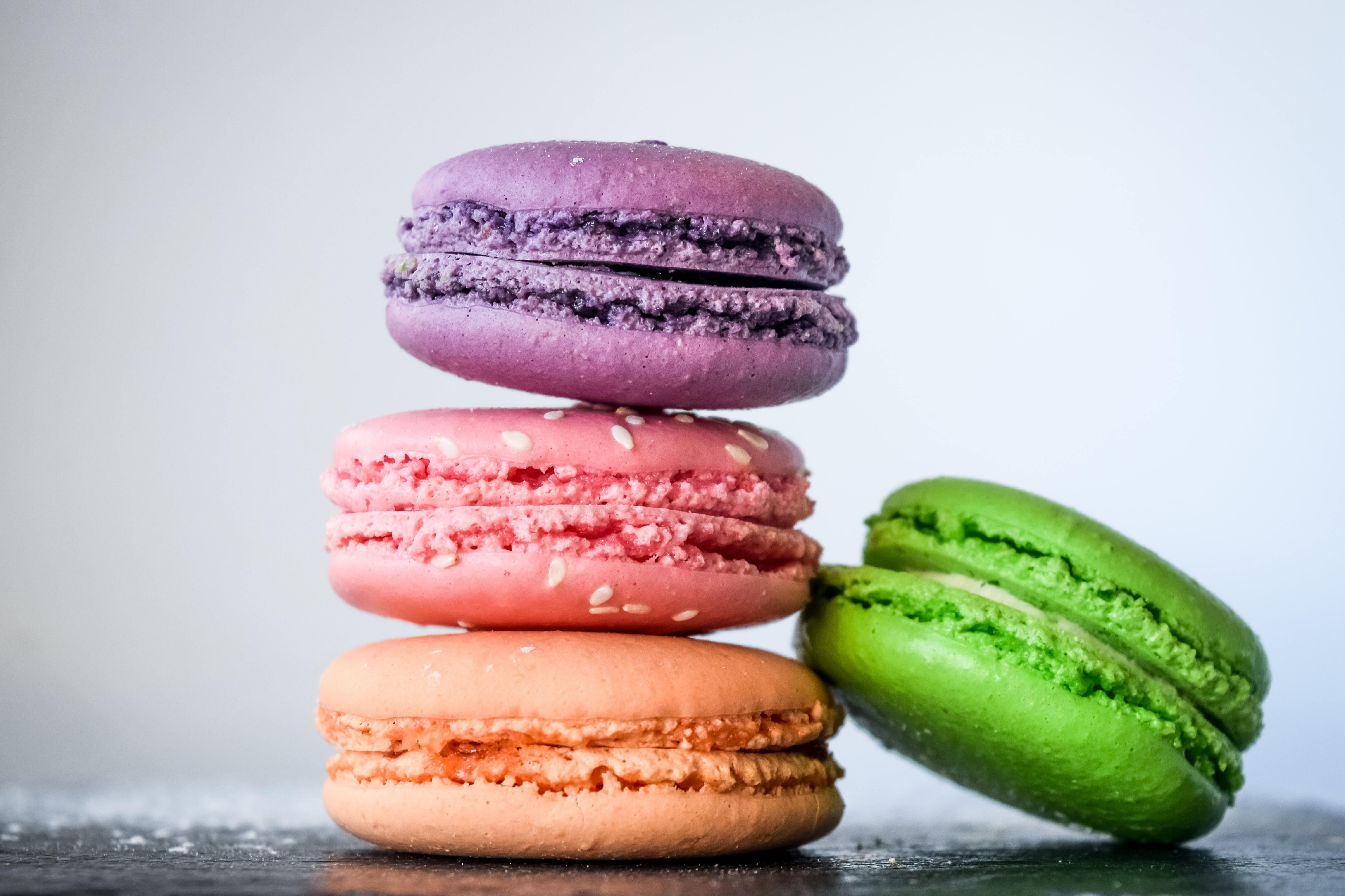 Обои Пища Макарон Макро Четыре 4 Печенье вблизи Еда Продукты питания Макросъёмка Крупным планом