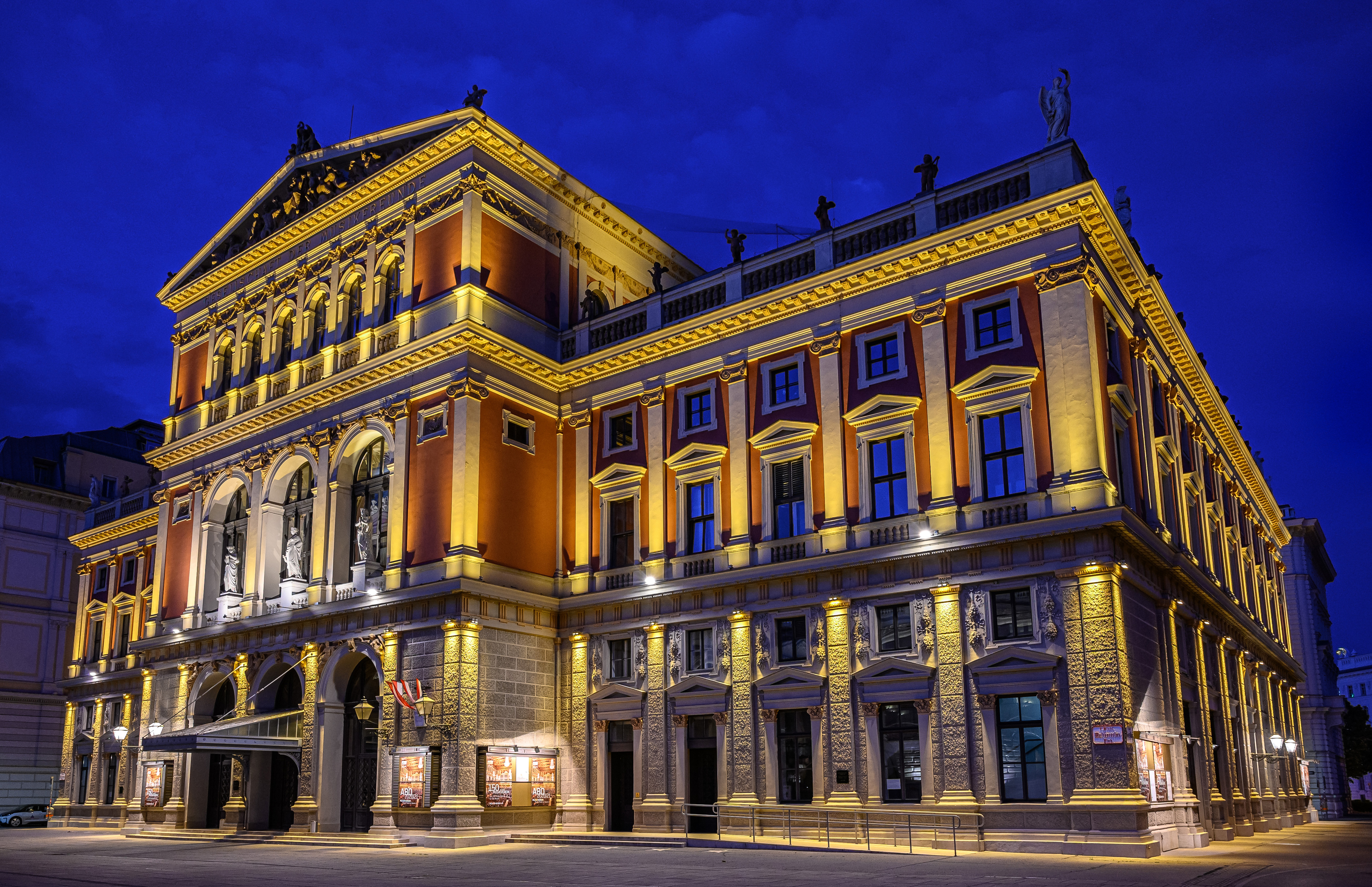 Фотографии Вена Австрия Musikverein Ночные Уличные фонари Дома Города 4360x2820 Ночь ночью в ночи город Здания