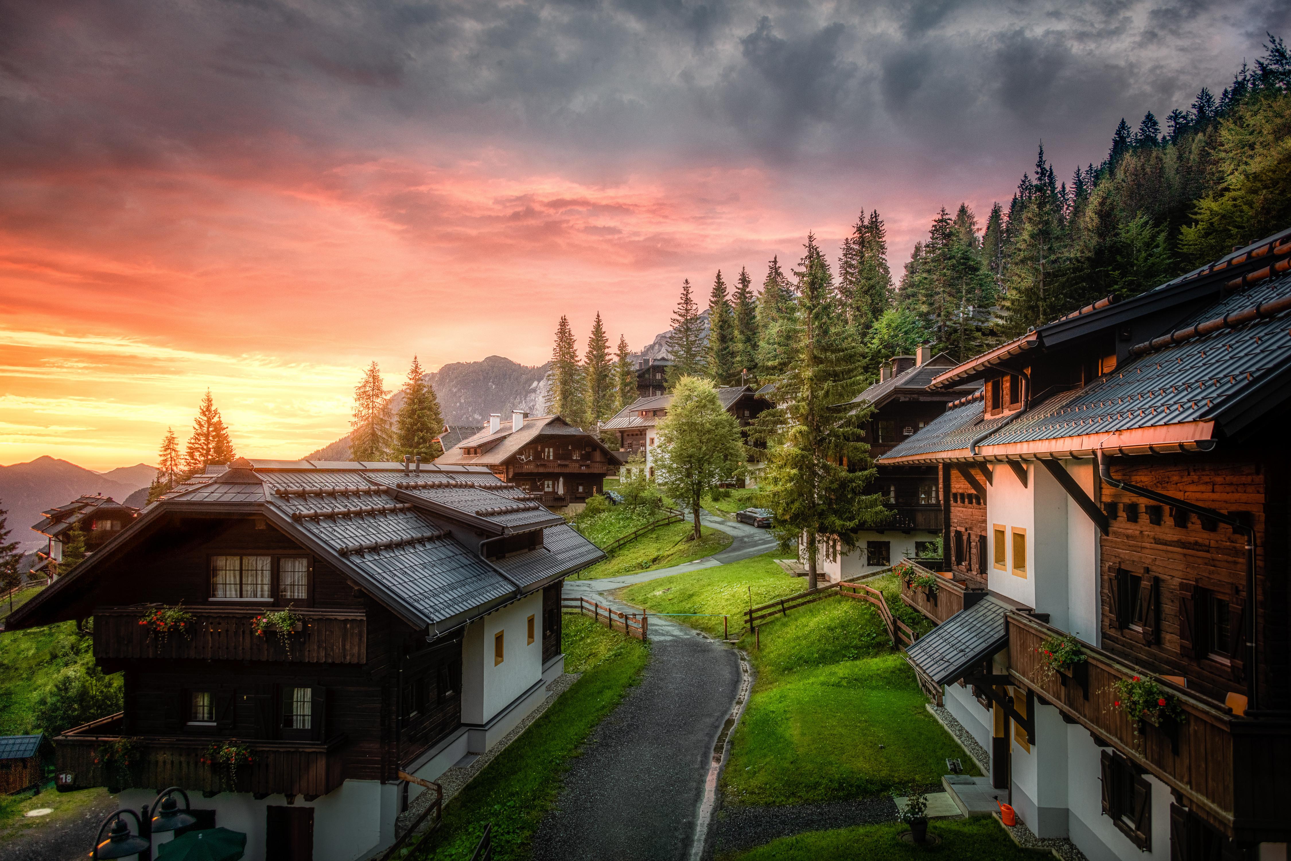 Фотография Австрия Carinthia Горы Природа Утро Дома облачно гора Здания Облака облако